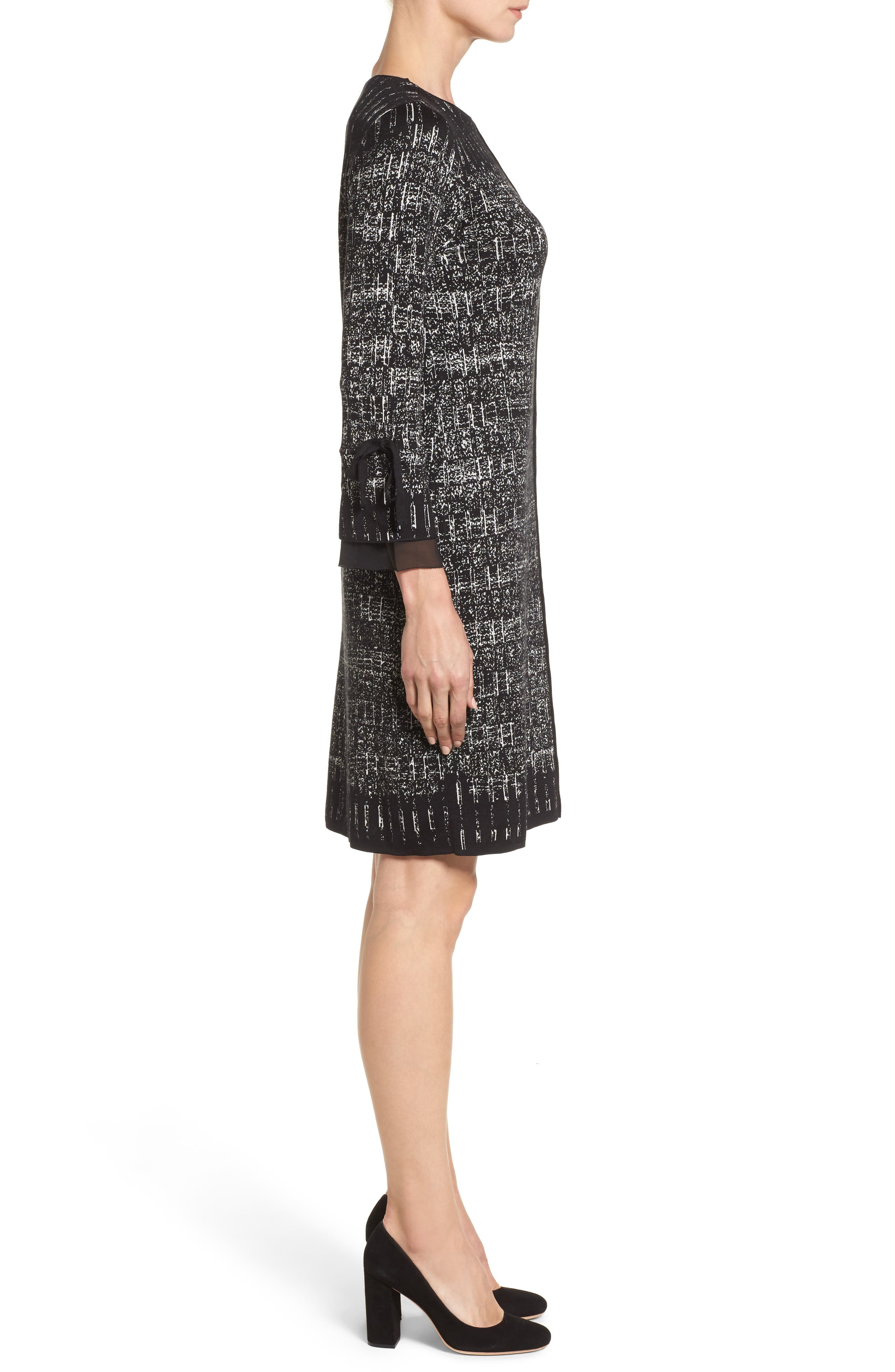 Ruffle Cuff Sweater Dress,                             Alternate thumbnail 3, color,                             099