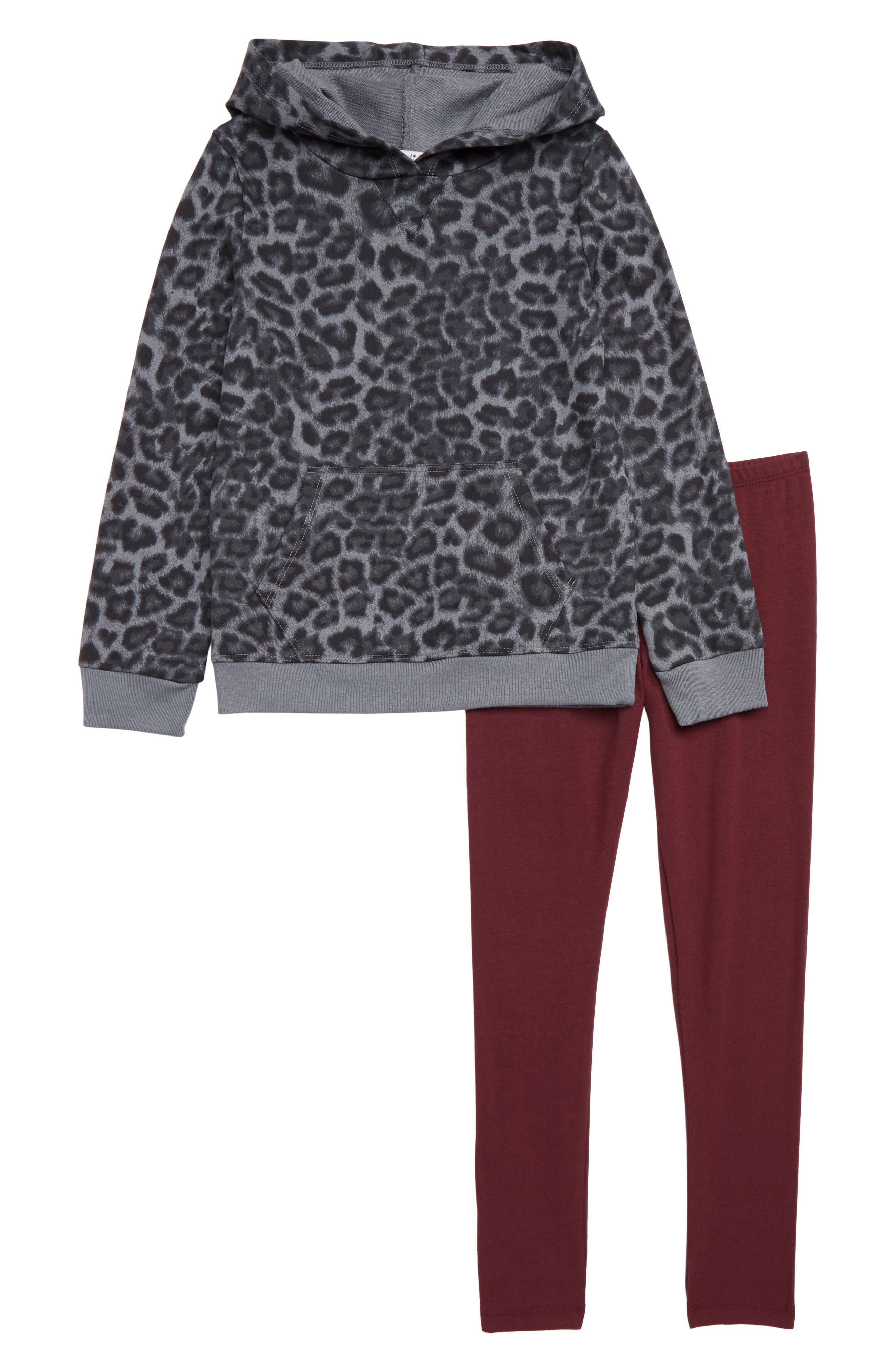 Girls Splendid Leopard Print Hoodie  Legging Set