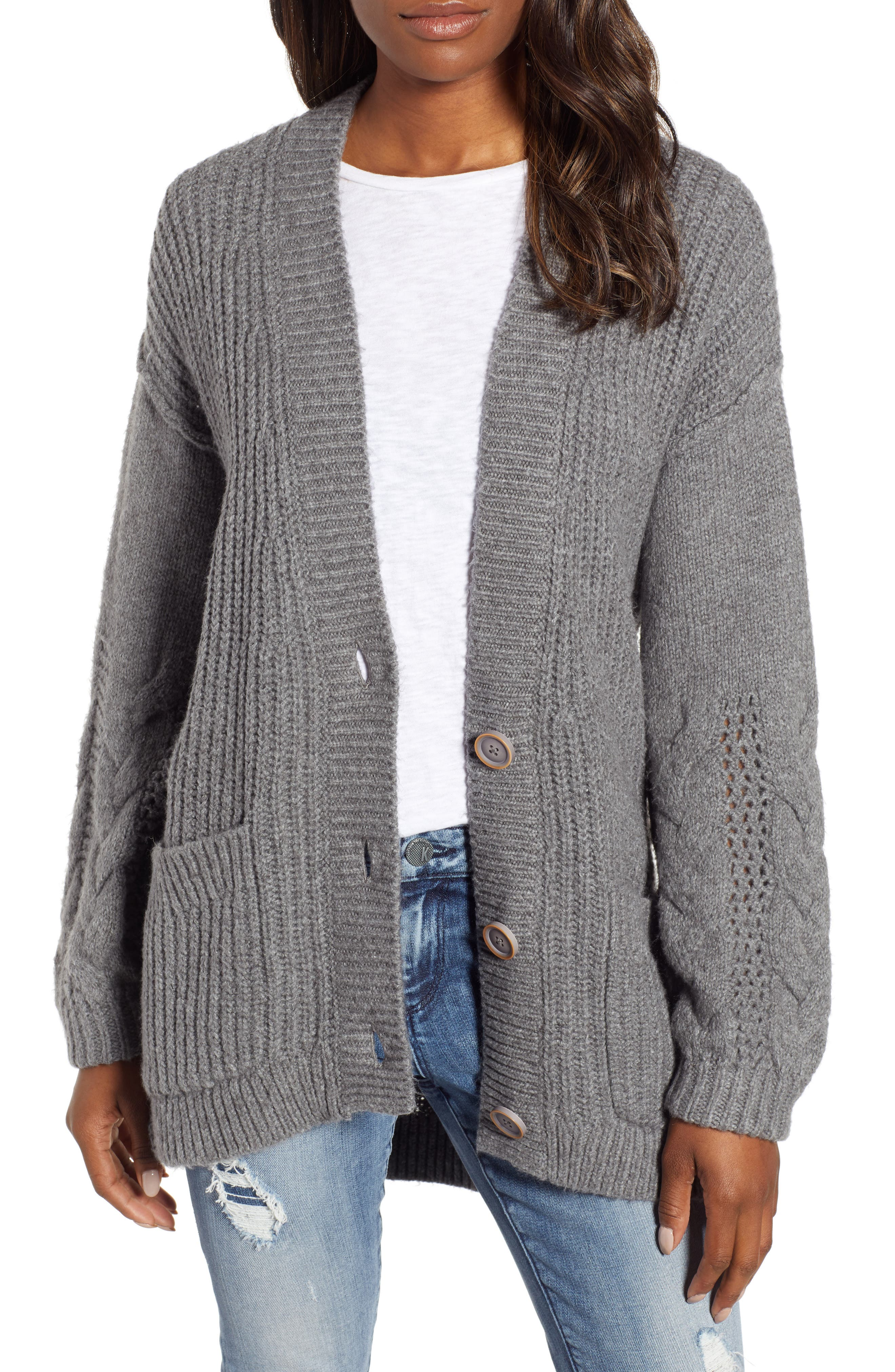 Caslon Cable Knit Sleeve Cardigan, Grey
