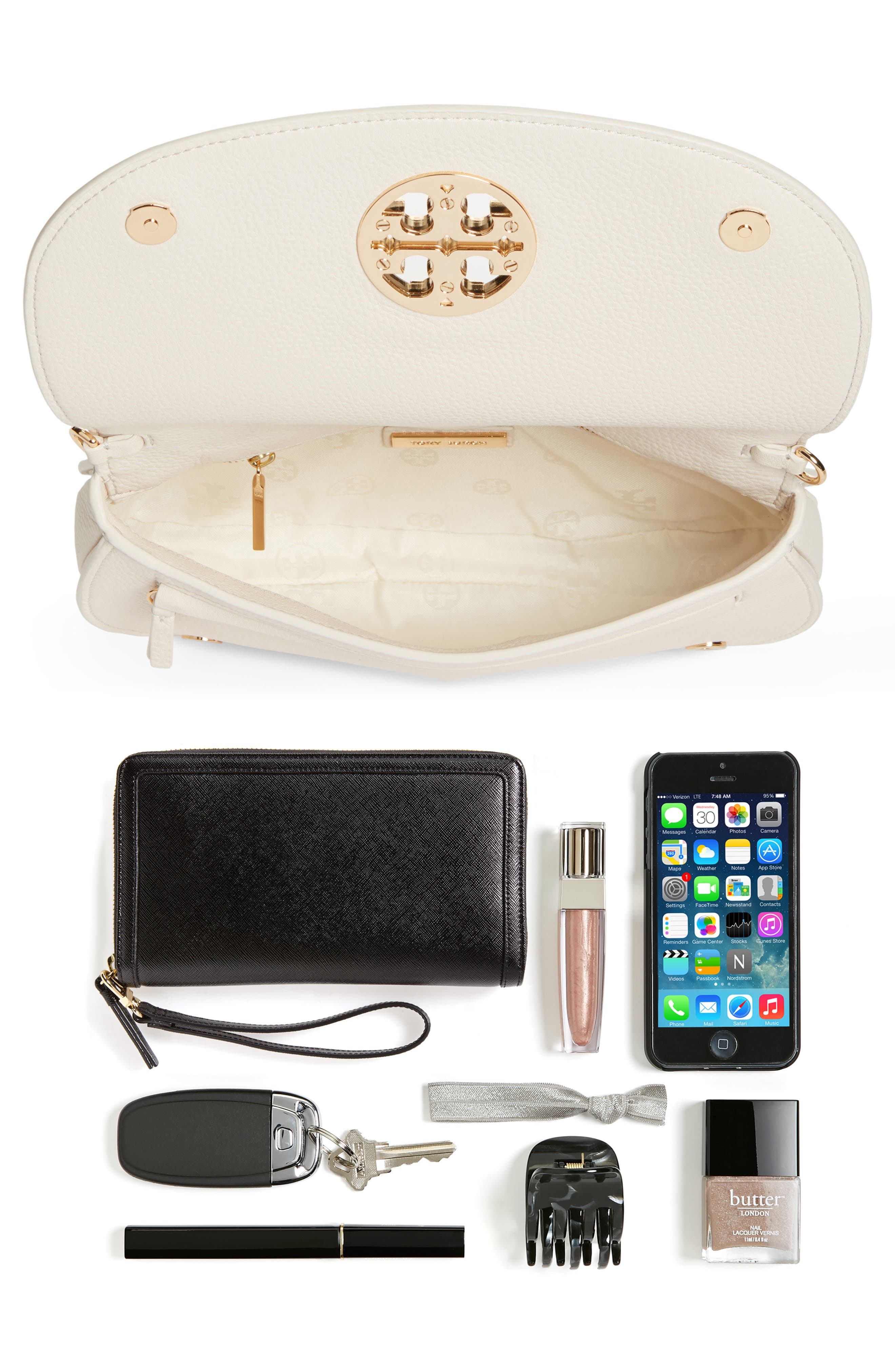 Jamie Convertible Leather Clutch,                             Alternate thumbnail 7, color,                             104