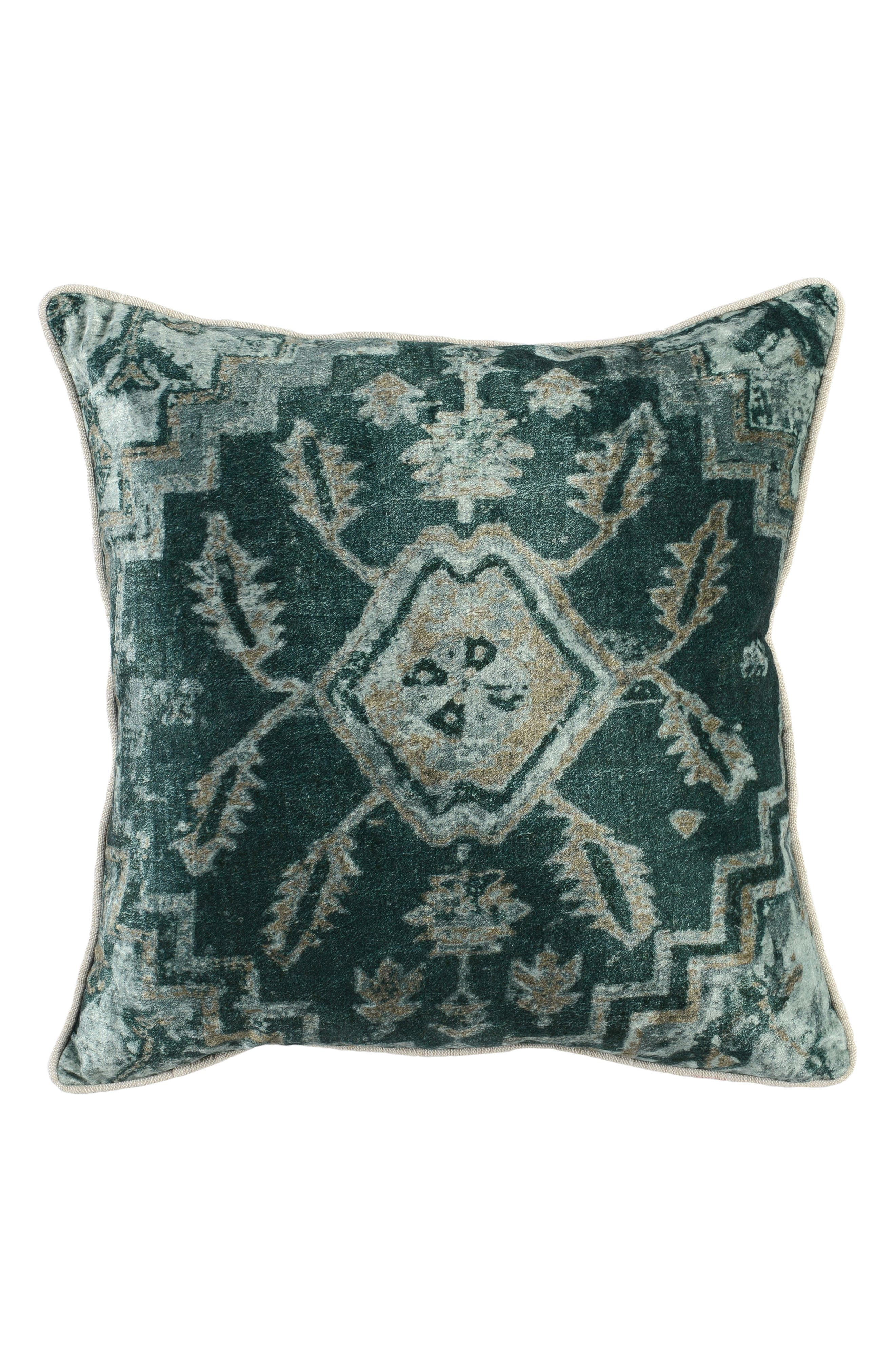 Vera Velvet Accent Pillow,                             Main thumbnail 1, color,                             GREEN