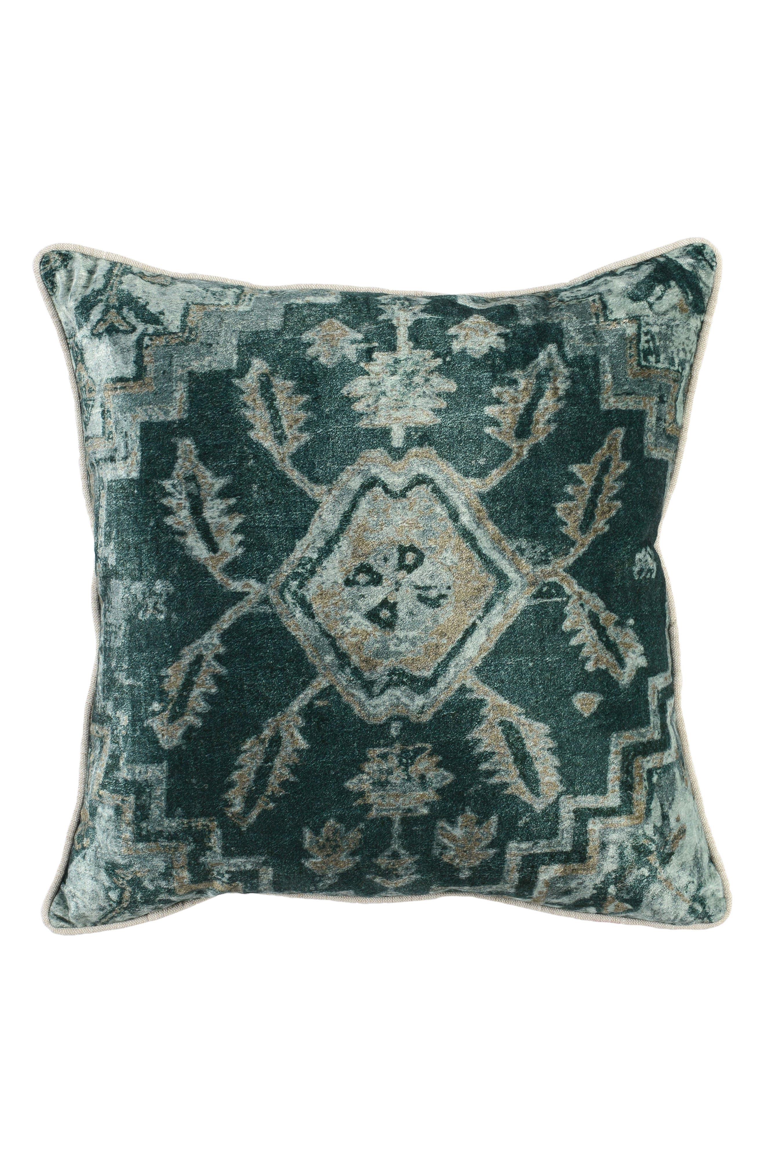 Vera Velvet Accent Pillow,                         Main,                         color, GREEN