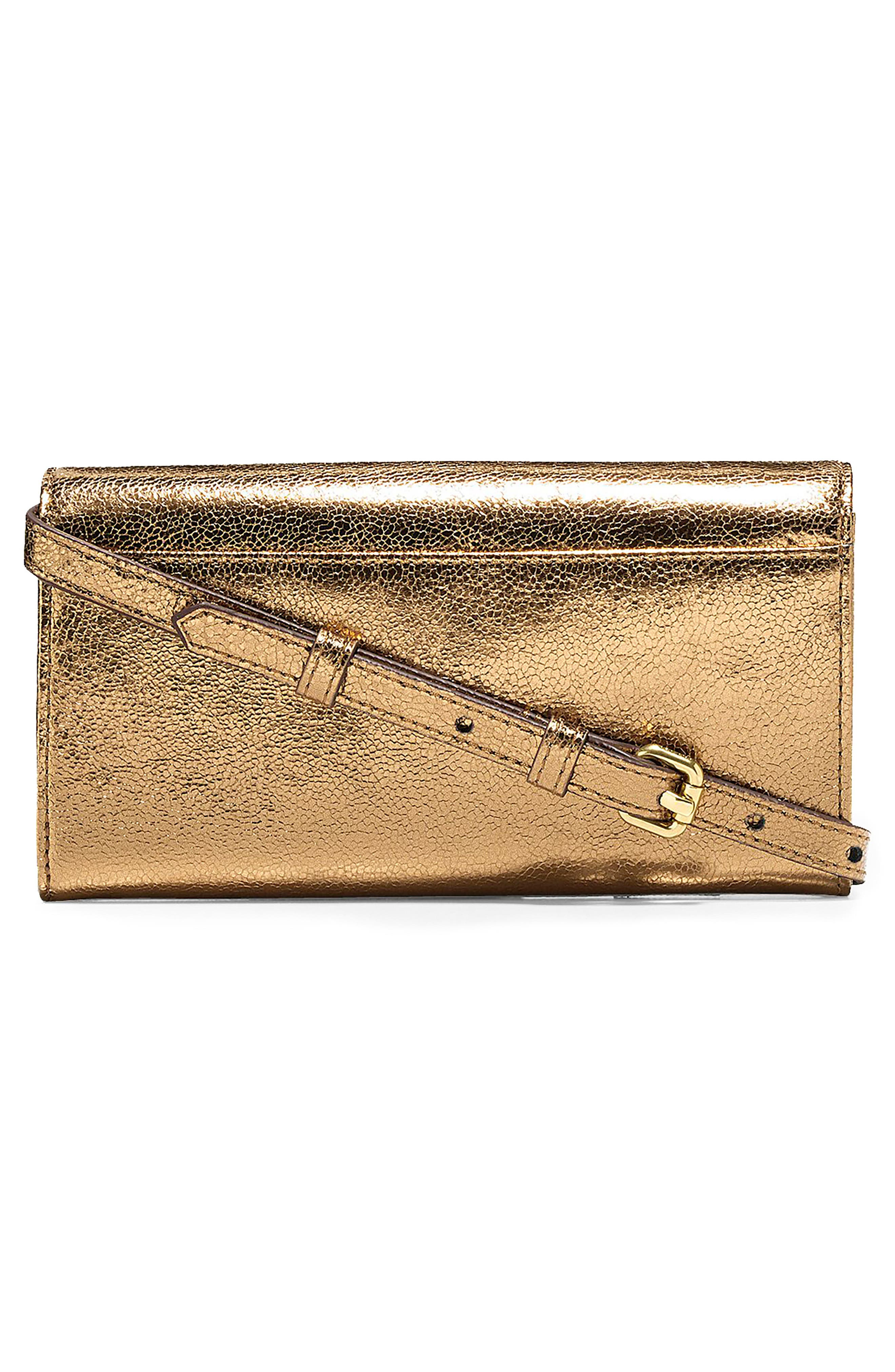 Marli Studded Metallic Leather Convertible Smartphone Clutch,                             Alternate thumbnail 4, color,