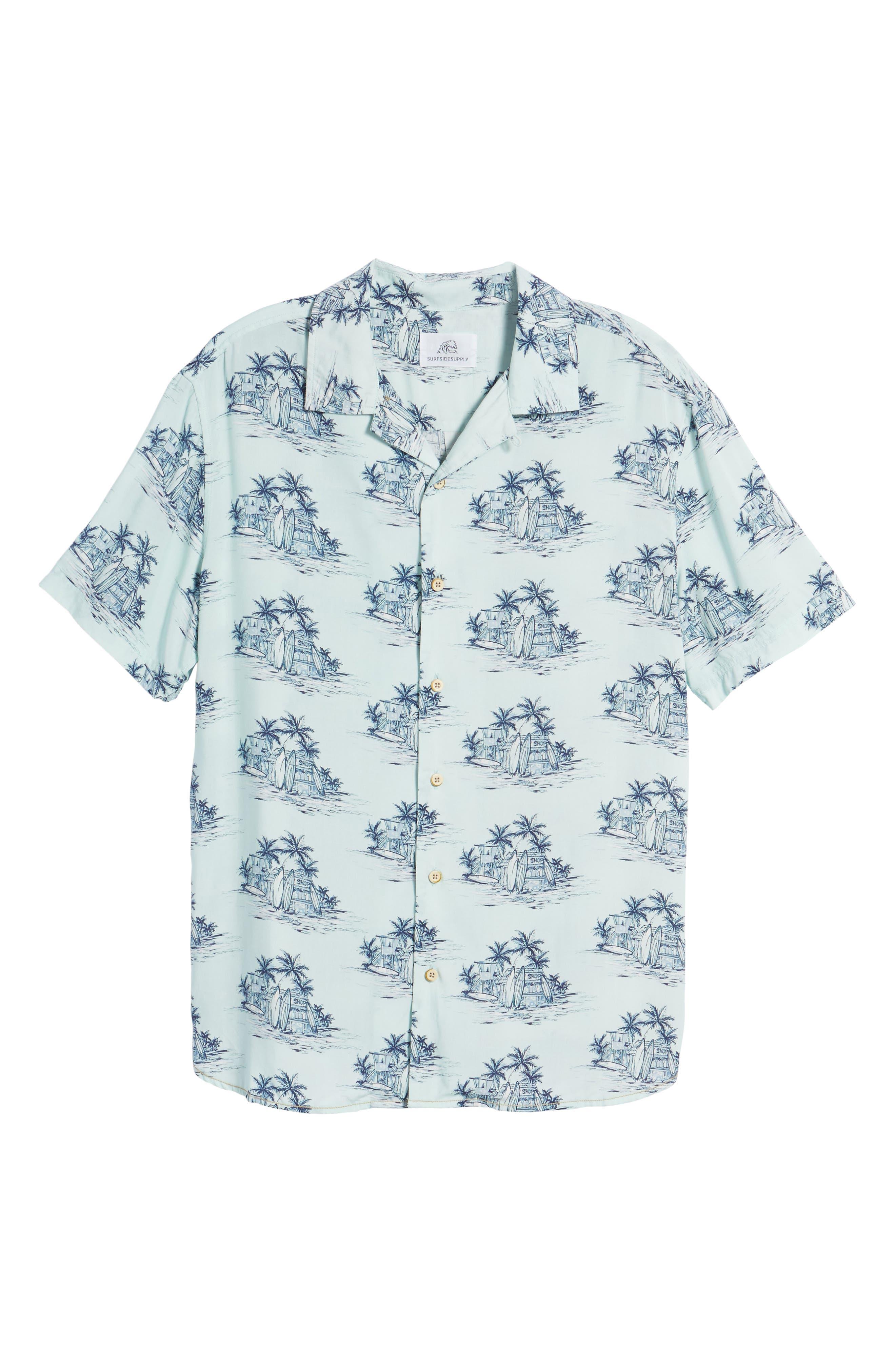 Tonal Hawaiian Print Camp Shirt,                             Alternate thumbnail 6, color,                             100