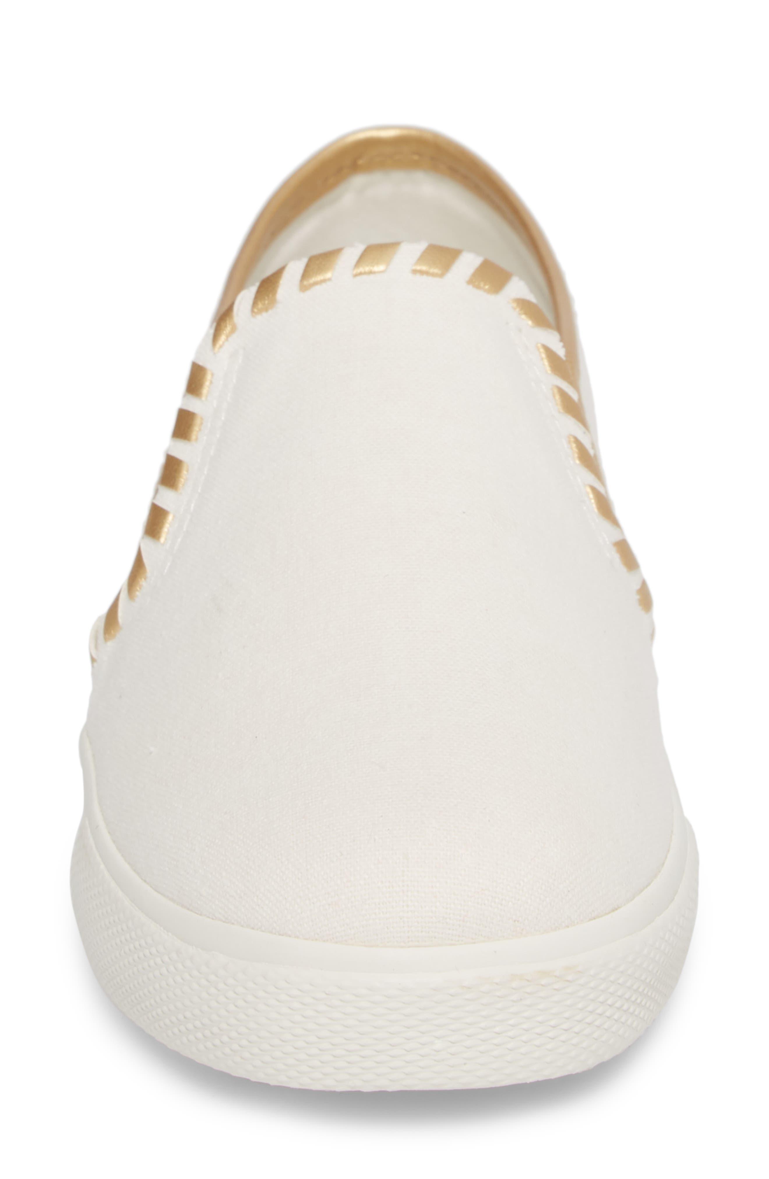 McKay Slip-On Sneaker,                             Alternate thumbnail 4, color,                             WHITE FABRIC