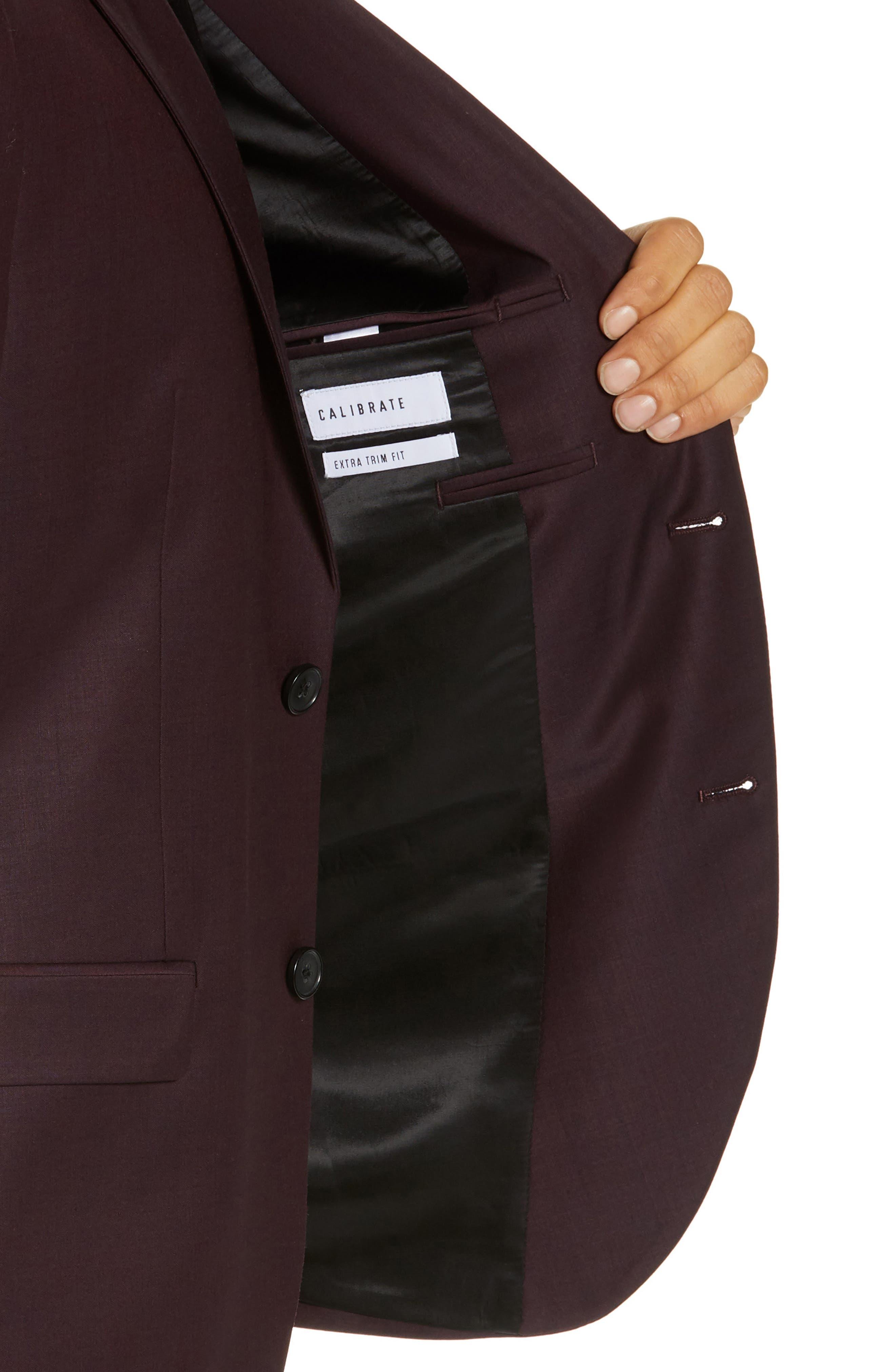 Extra Trim Fit Suit Jacket,                             Alternate thumbnail 4, color,                             BURGUNDY