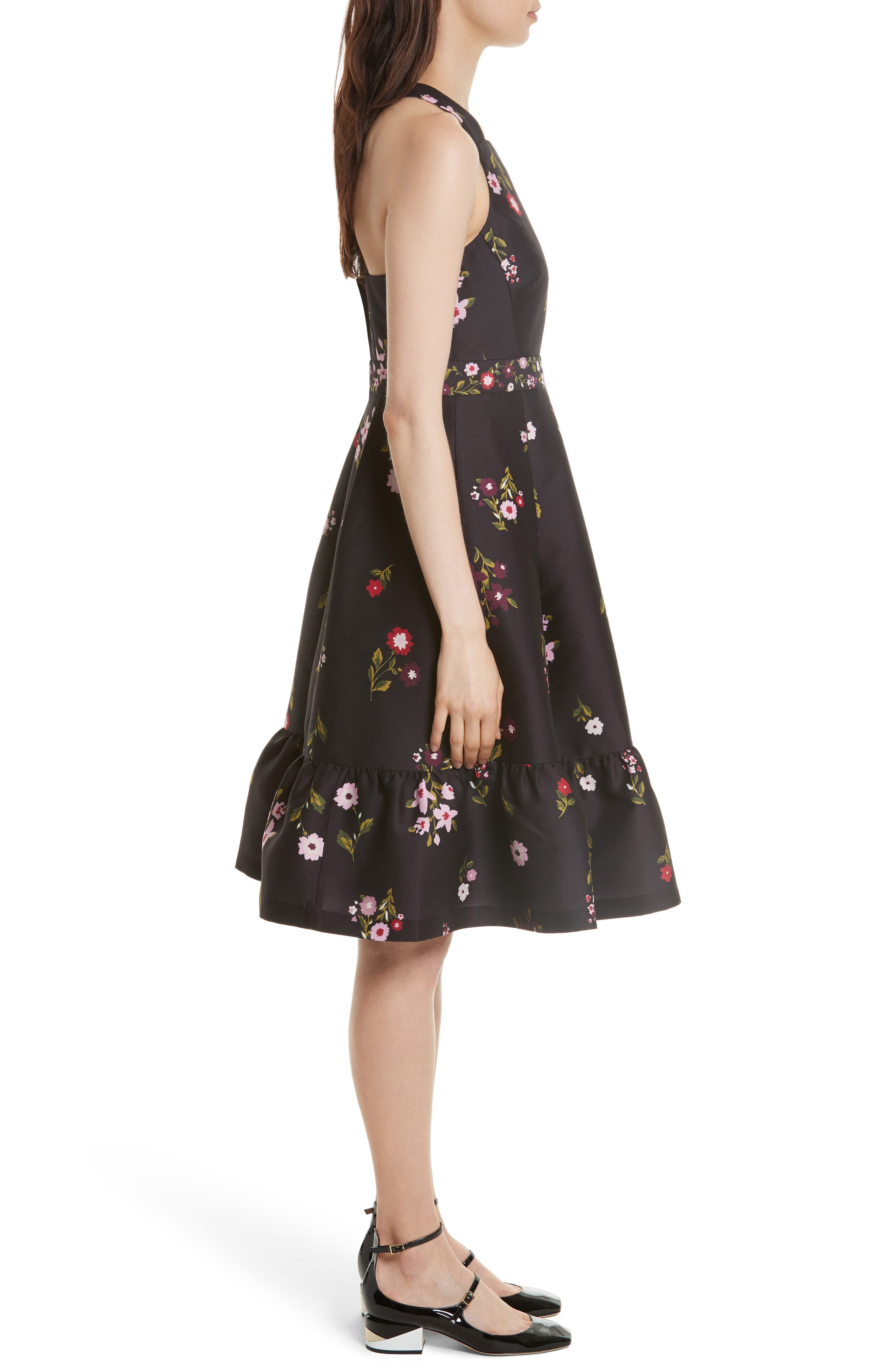 in bloom fit & flare dress,                             Alternate thumbnail 3, color,                             006