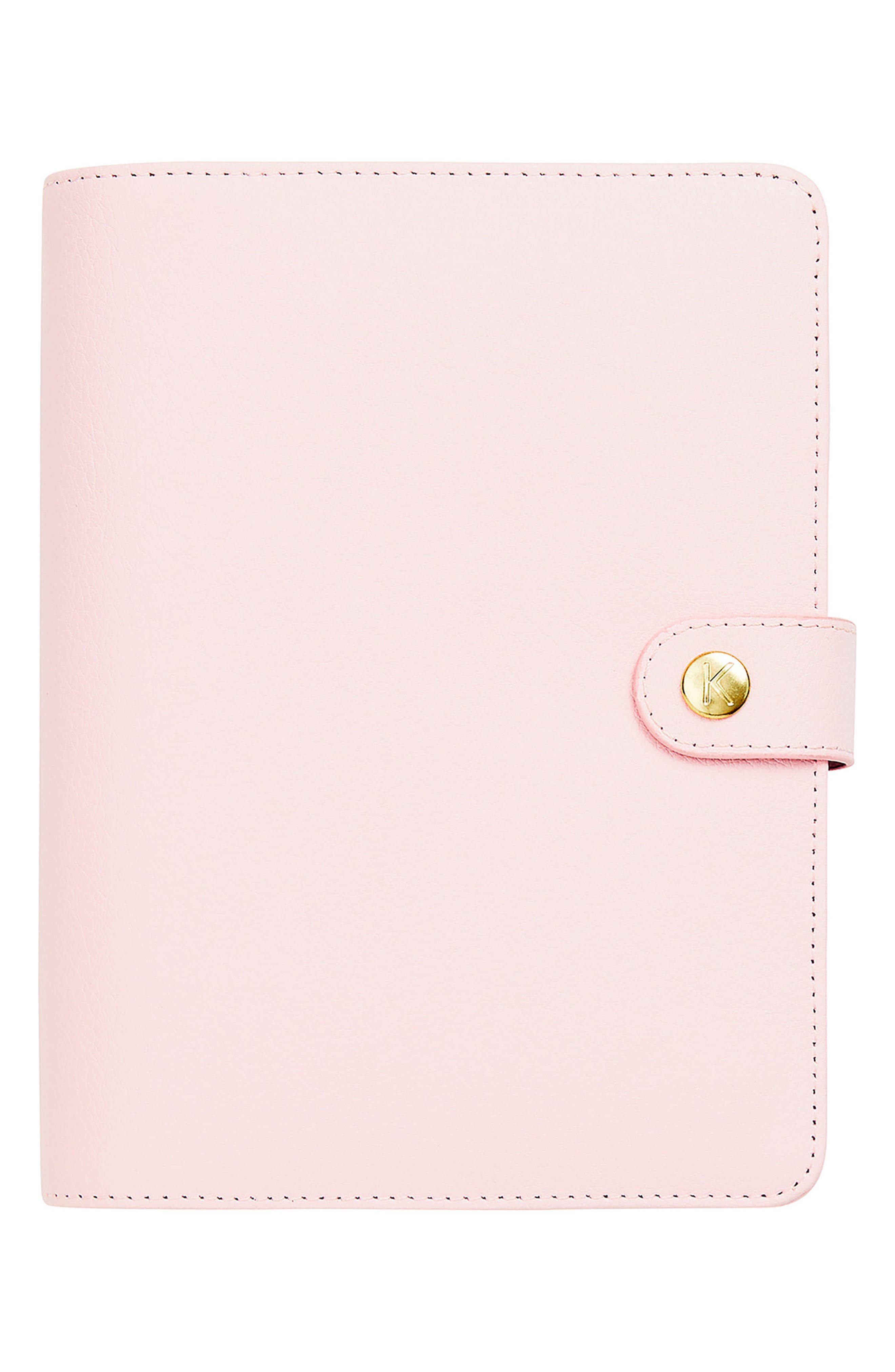 18-Month Zip-Around Leather Perpetual Planner,                             Main thumbnail 1, color,                             PALE PINK