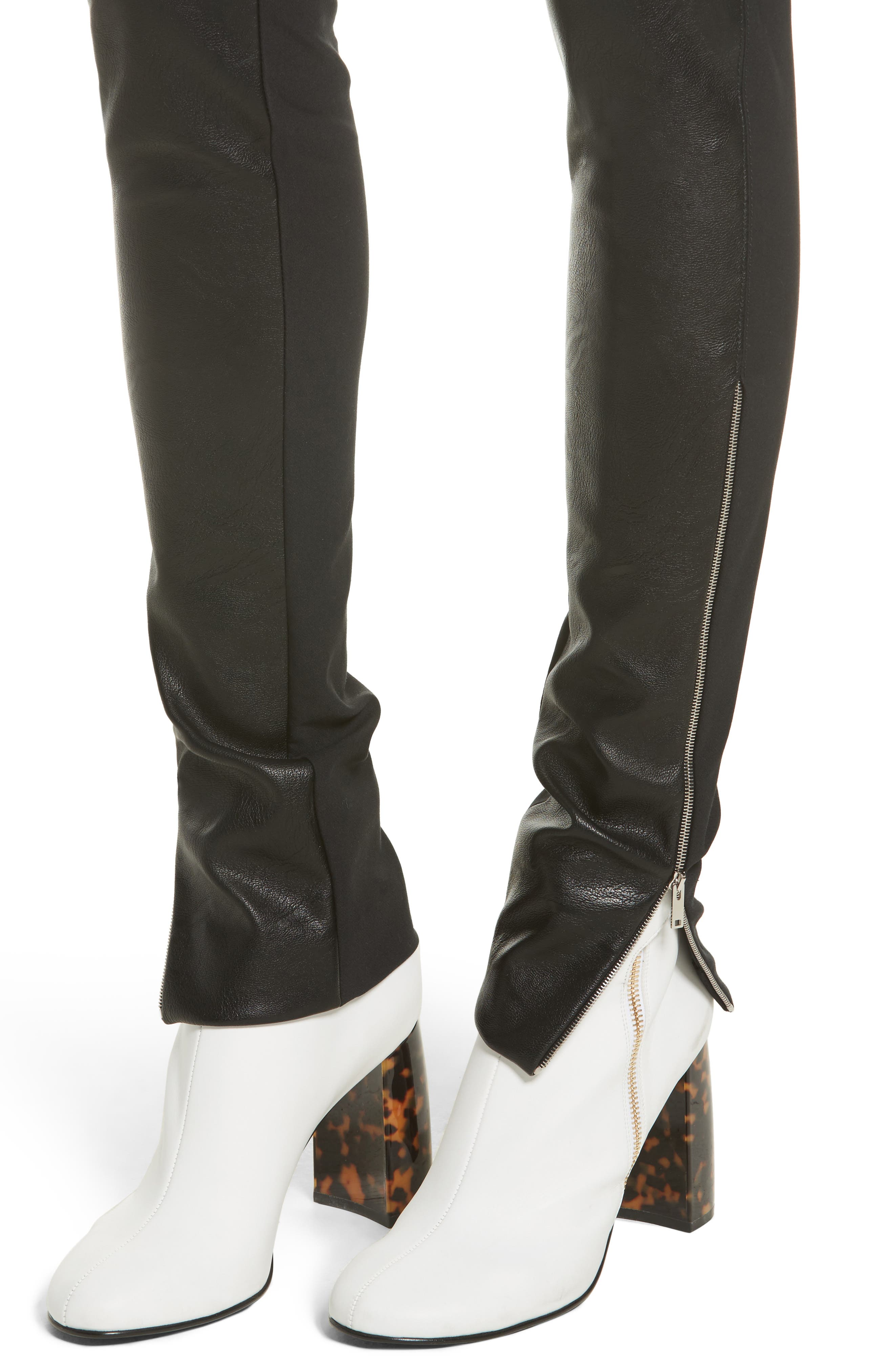 Faux Leather Stretch Leggings,                             Alternate thumbnail 4, color,                             001