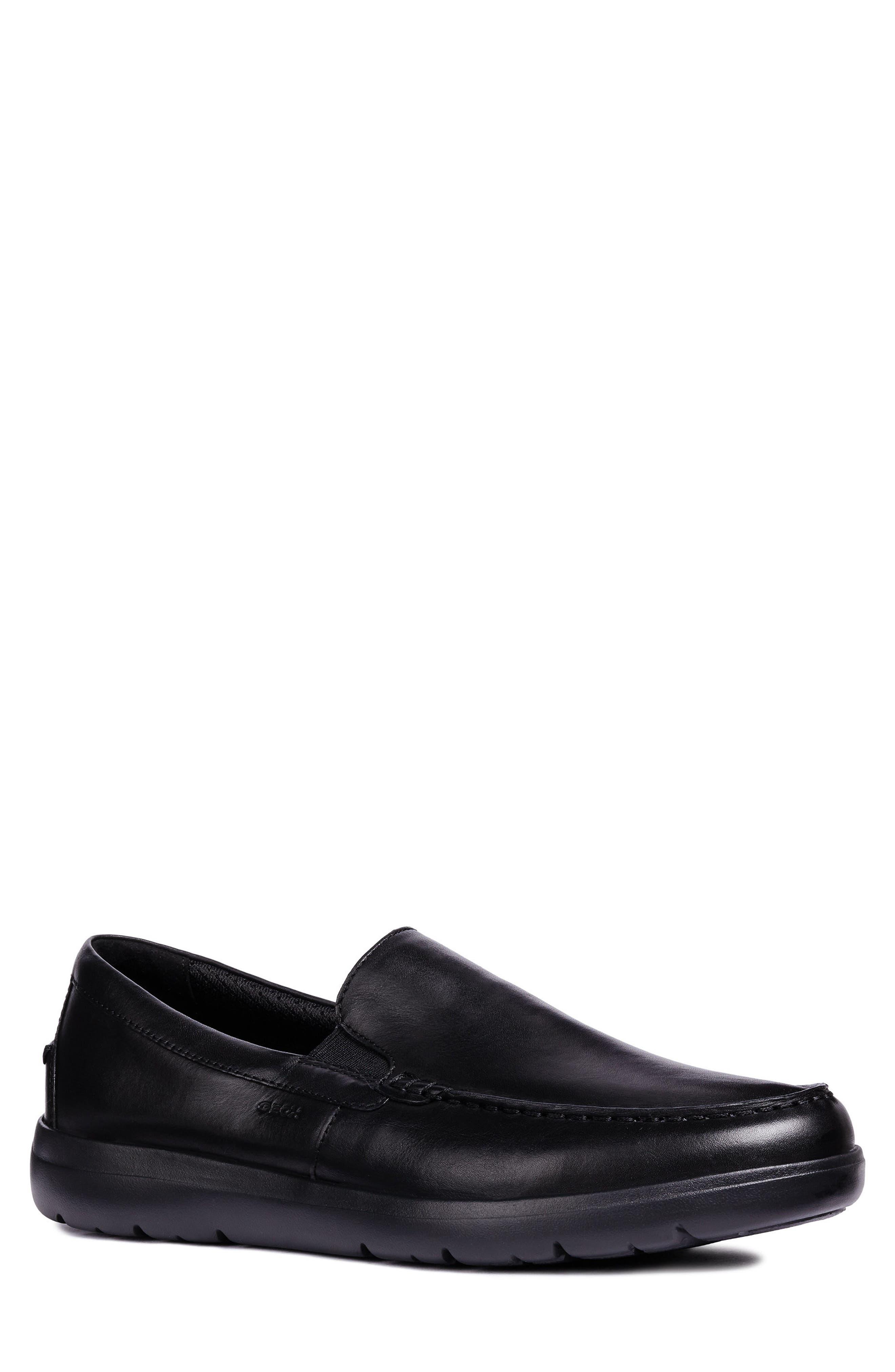 Leitan 6 Moc Toe Slip-On,                             Main thumbnail 1, color,                             BLACK LEATHER