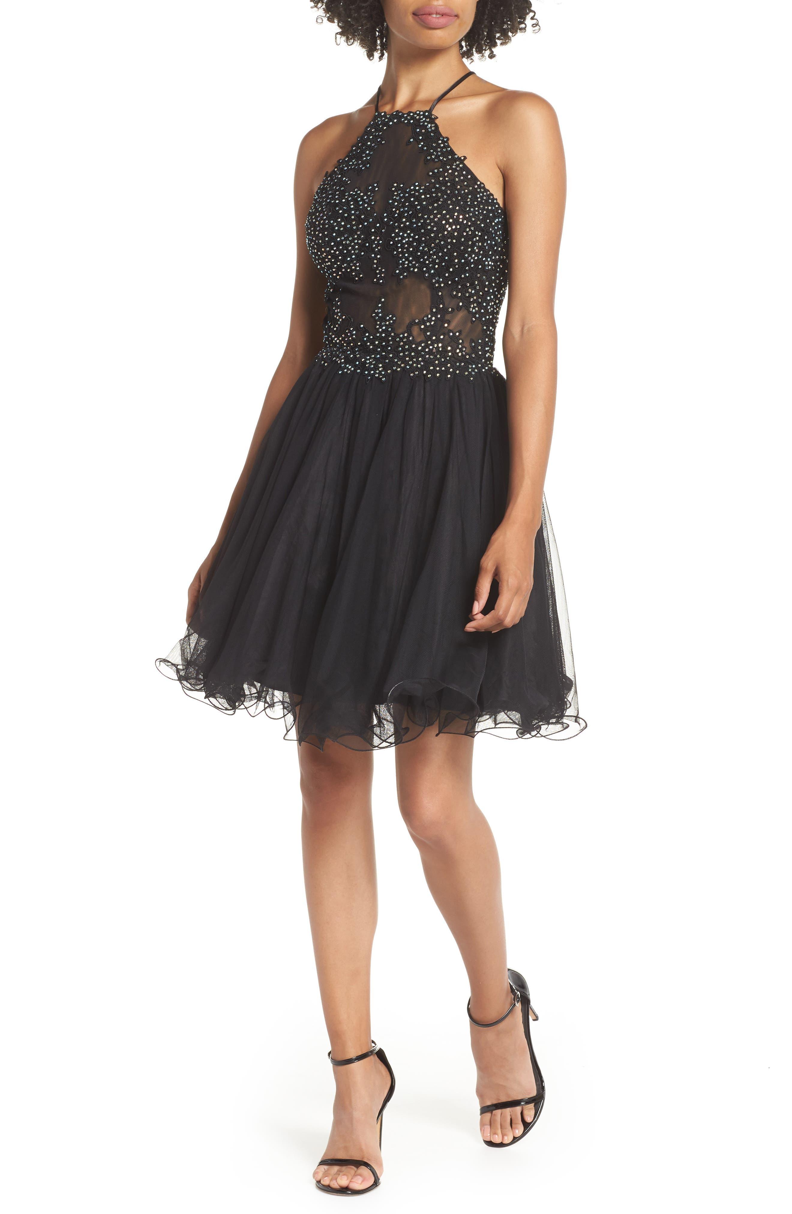 Halter Neck Appliqué Mesh Party Dress,                         Main,                         color, BLACK