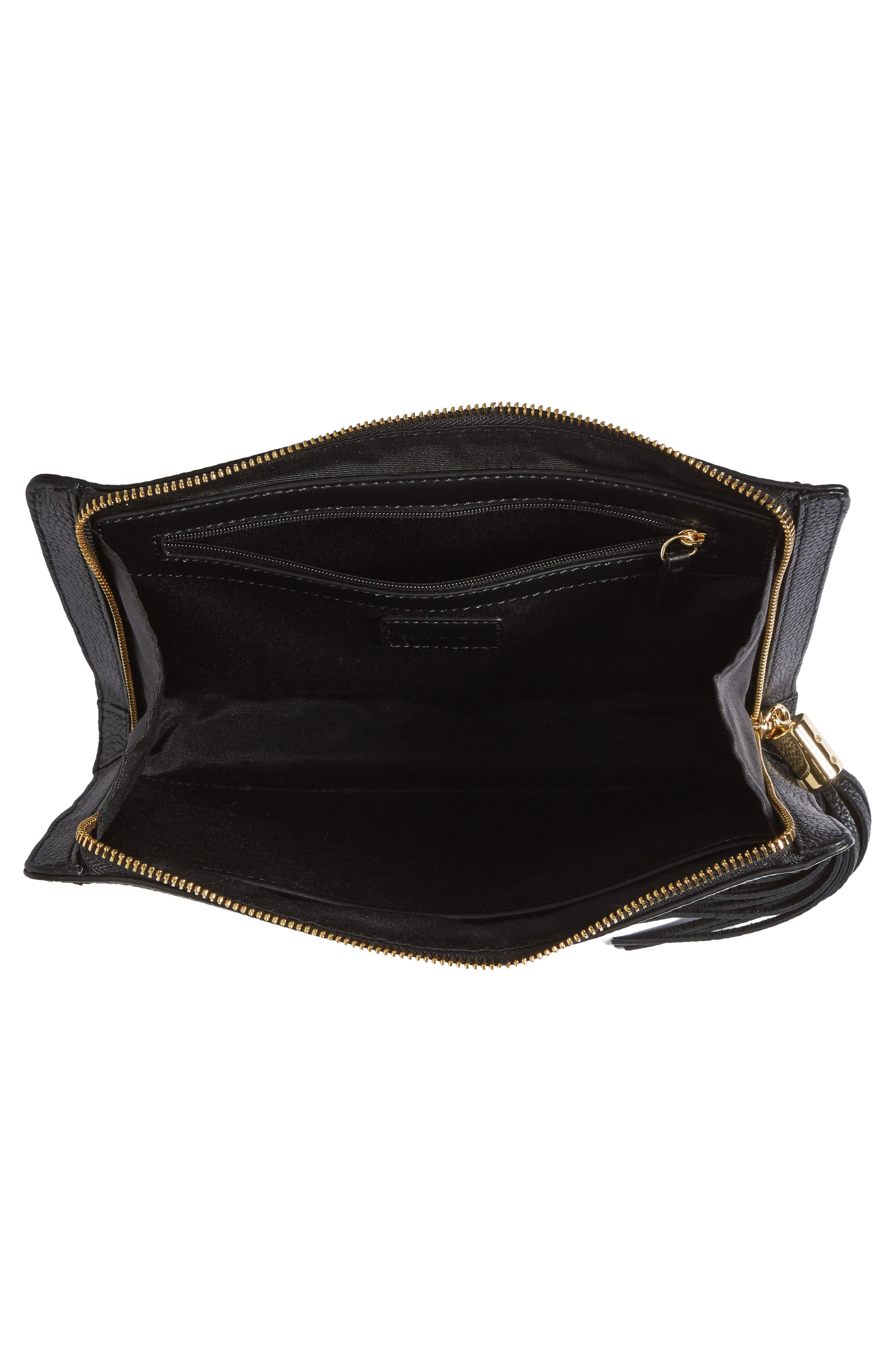 Astor Leather Clutch,                             Alternate thumbnail 4, color,                             001