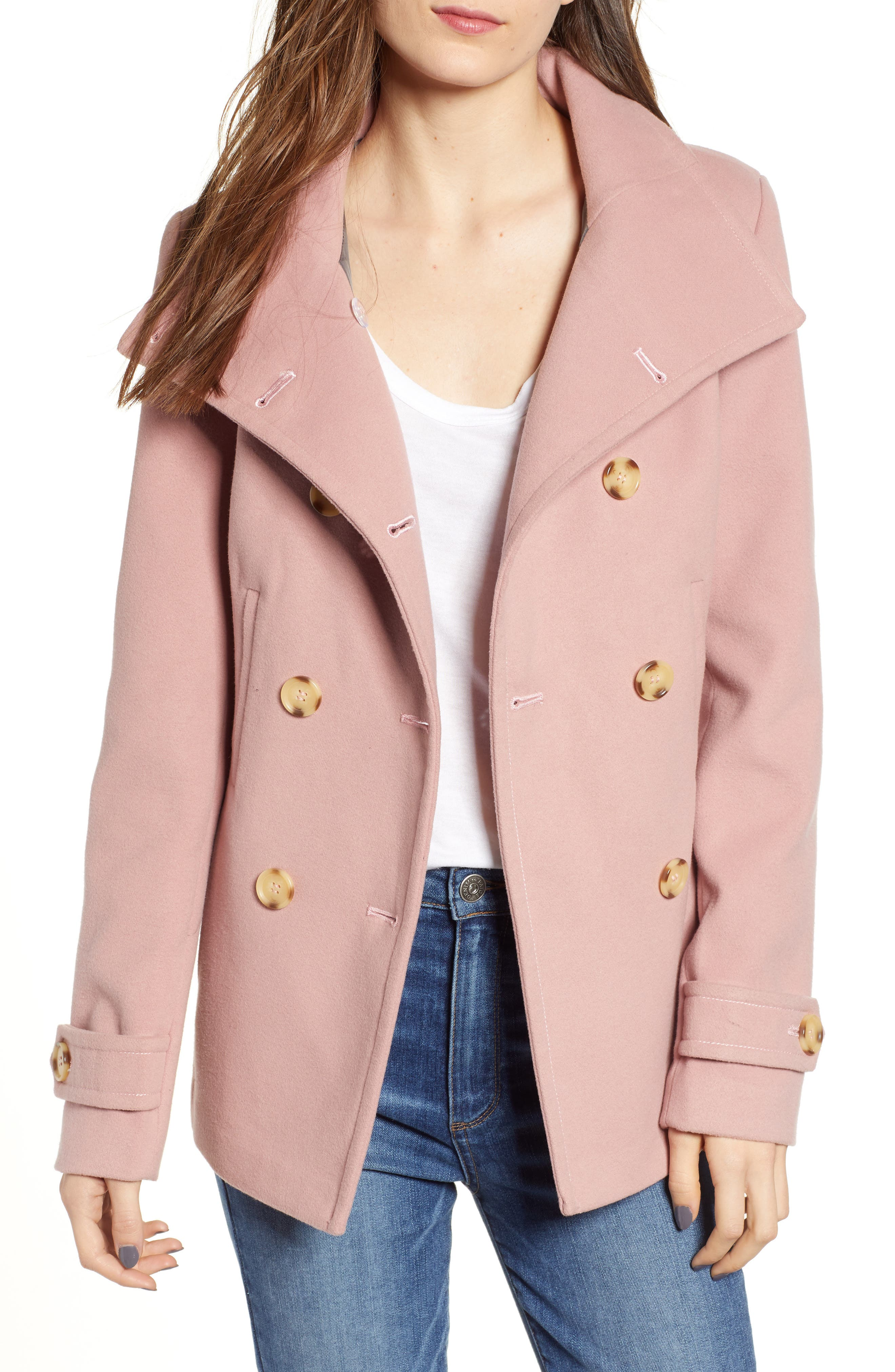 THREAD & SUPPLY Double Breasted Peacoat, Main, color, BLUSH