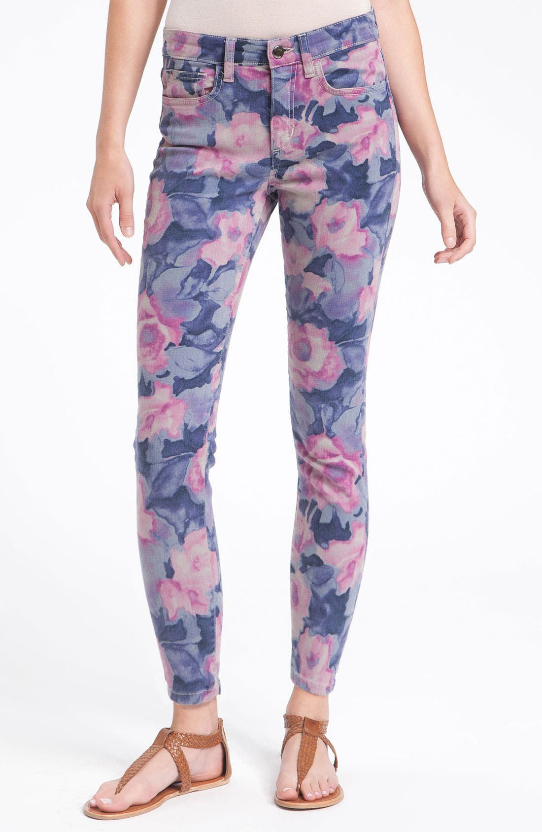 'The High Water' Print Crop Skinny Jeans,                             Alternate thumbnail 3, color,                             400
