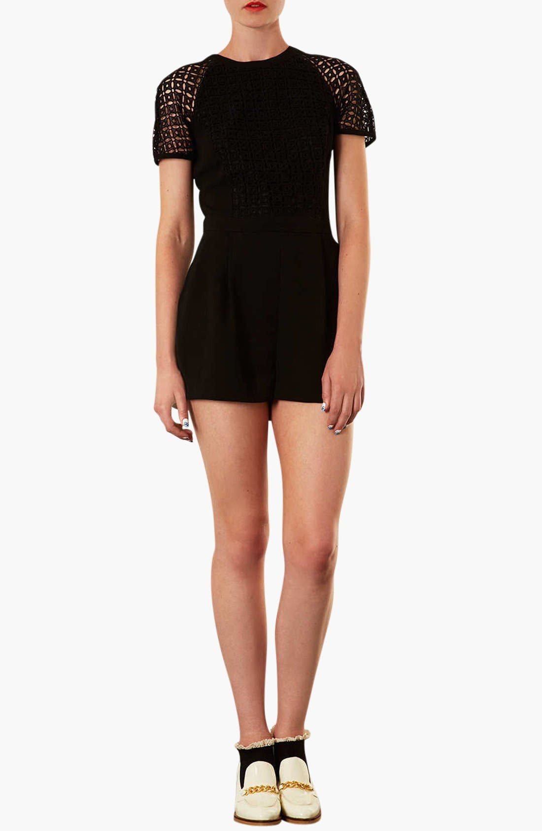 'Cutwork' Romper,                         Main,                         color, 001