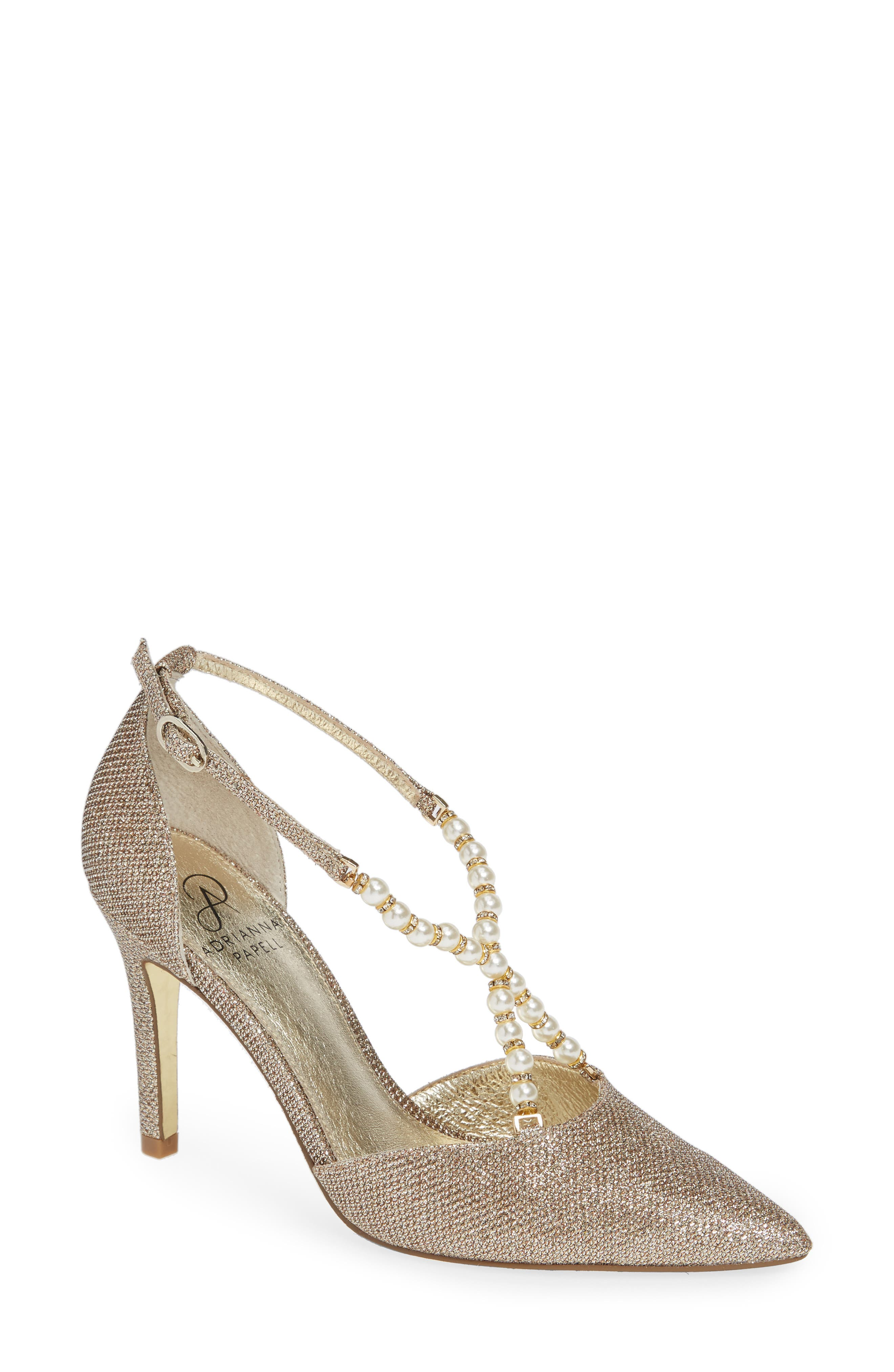 ADRIANNA PAPELL Pointed-Toe Pumps With Beaded Straps in Platino