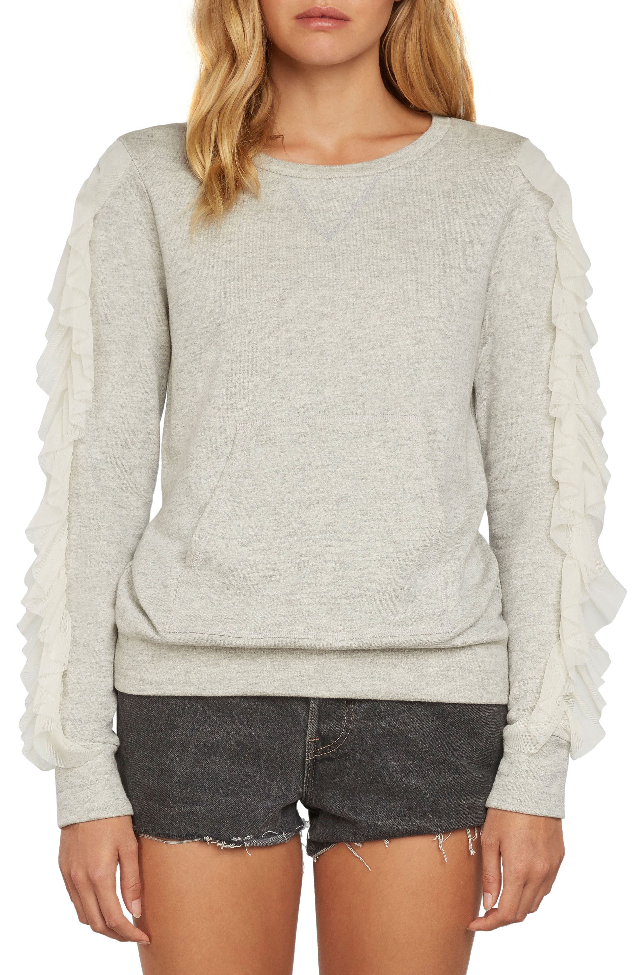 Ruffle Pullover Knit Sweatshirt,                         Main,                         color, 060