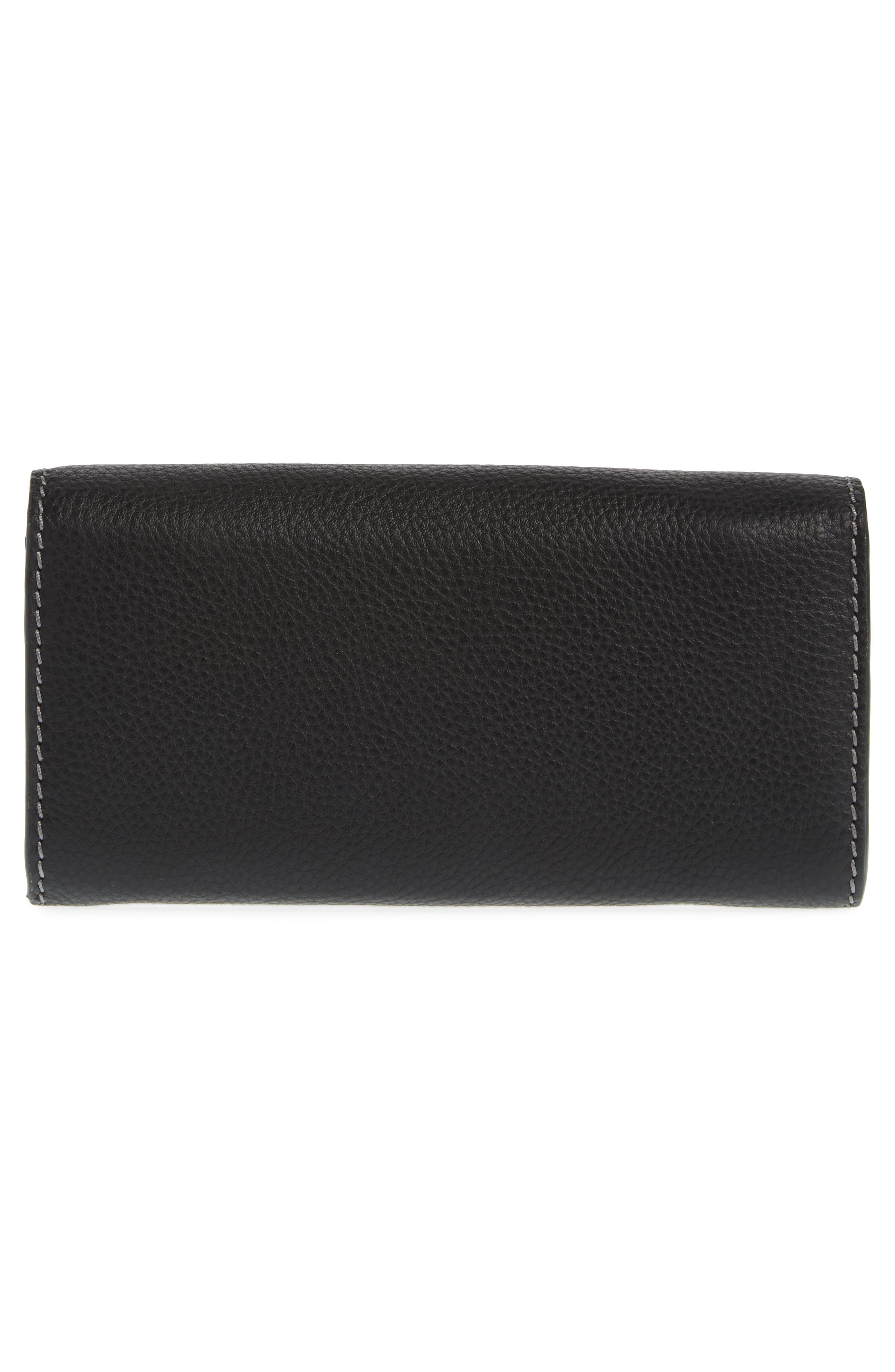 Marcie - Long Leather Flap Wallet,                             Alternate thumbnail 3, color,                             BLACK