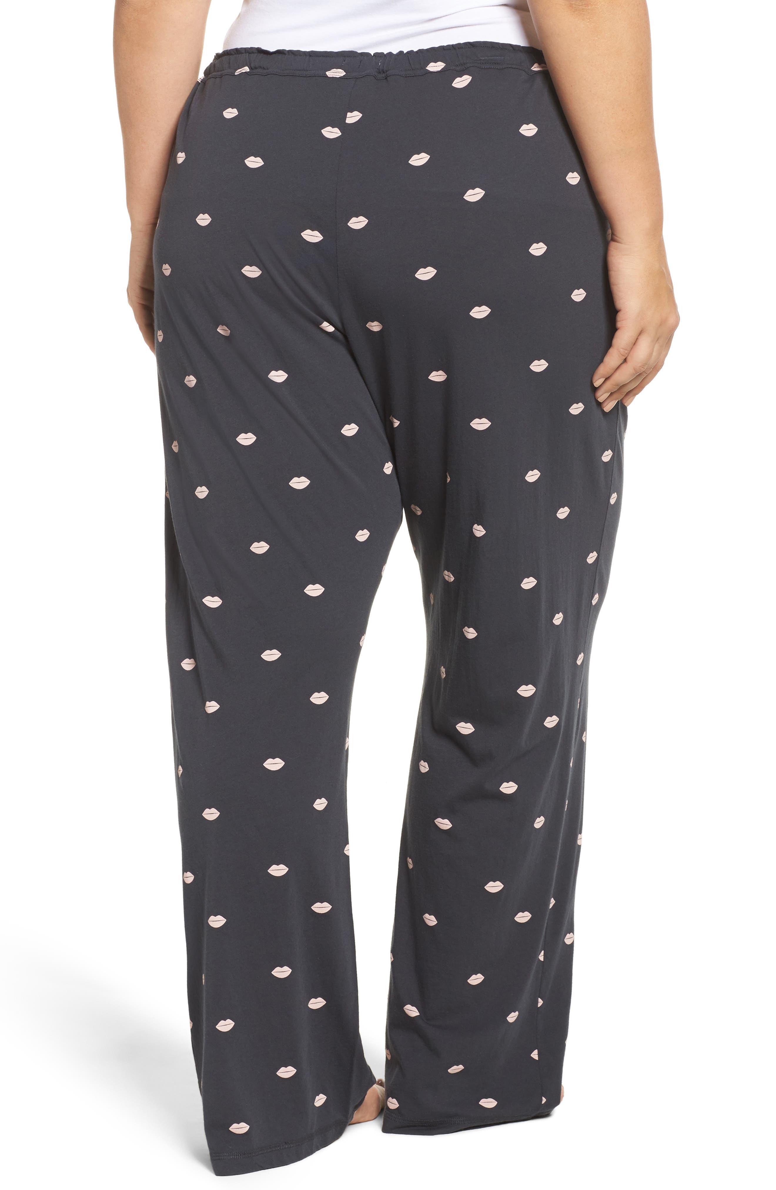 Lip Print Pajama Pants,                             Alternate thumbnail 2, color,