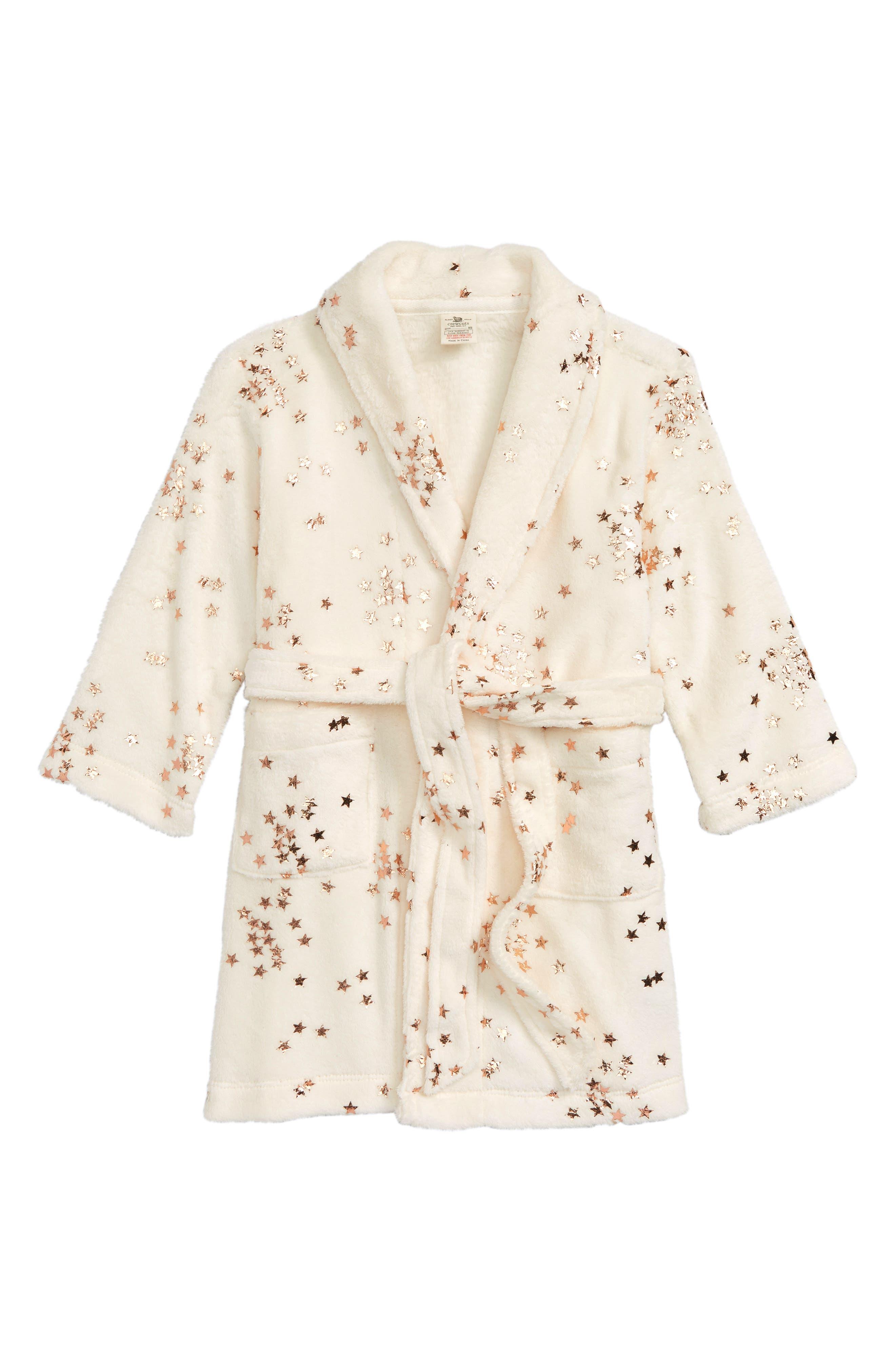 Star Fleece Robe,                             Main thumbnail 1, color,                             IVORY ROSE GOLD