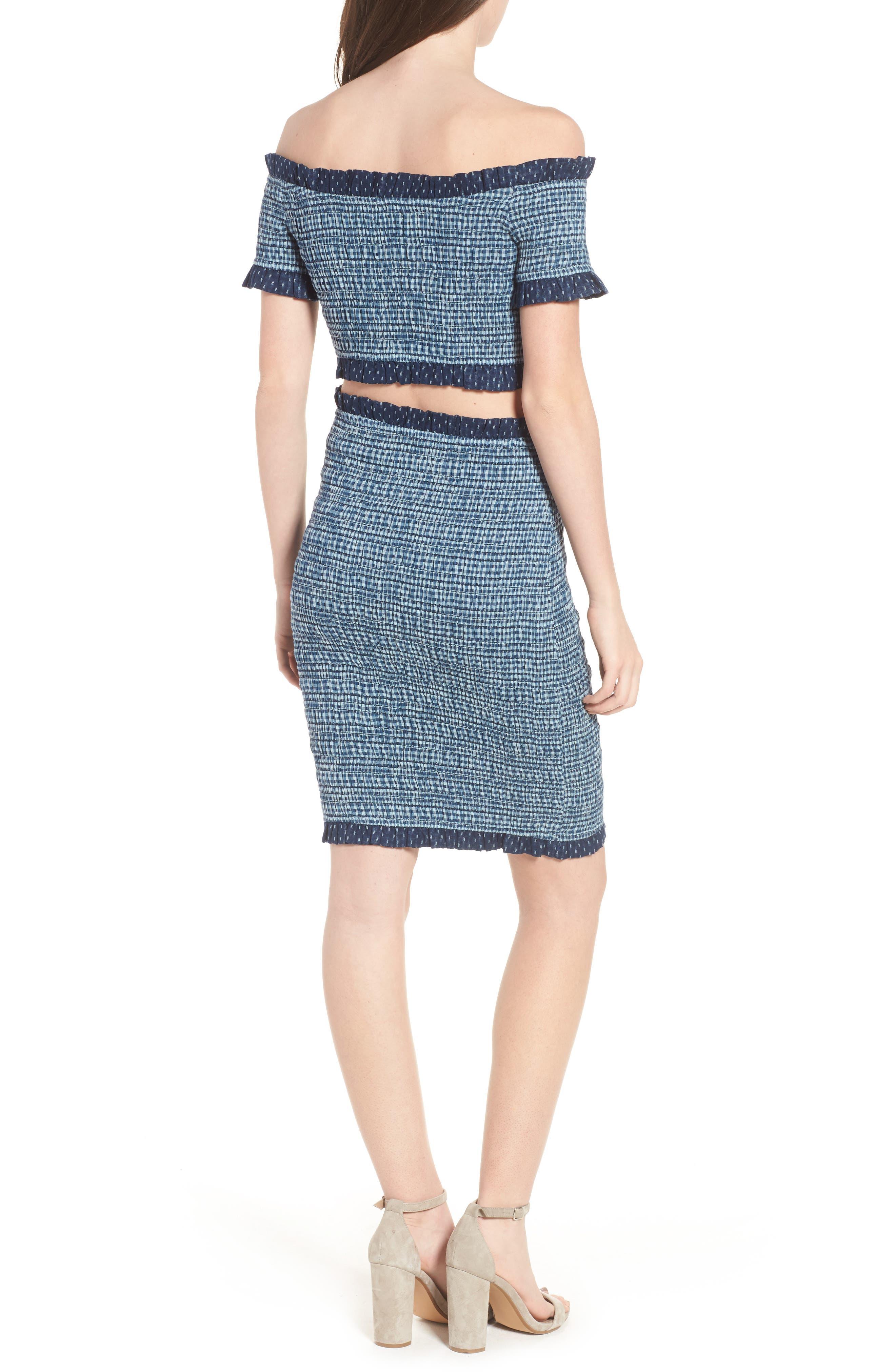 Kylie Smocked Skirt,                             Alternate thumbnail 8, color,                             001