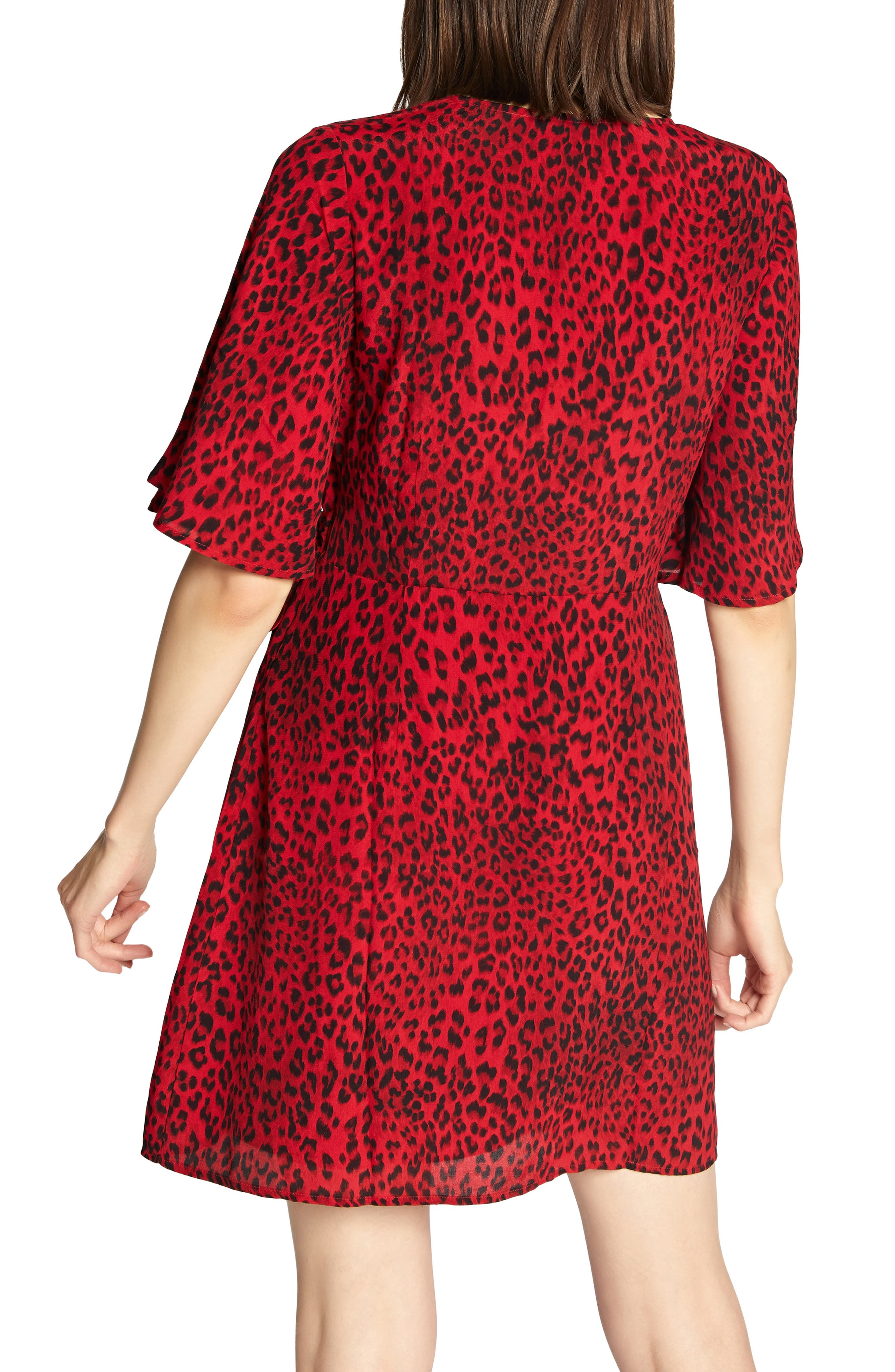 Girl on Fire Leopard Faux Wrap Dress,                             Alternate thumbnail 2, color,                             RED LEOPARD