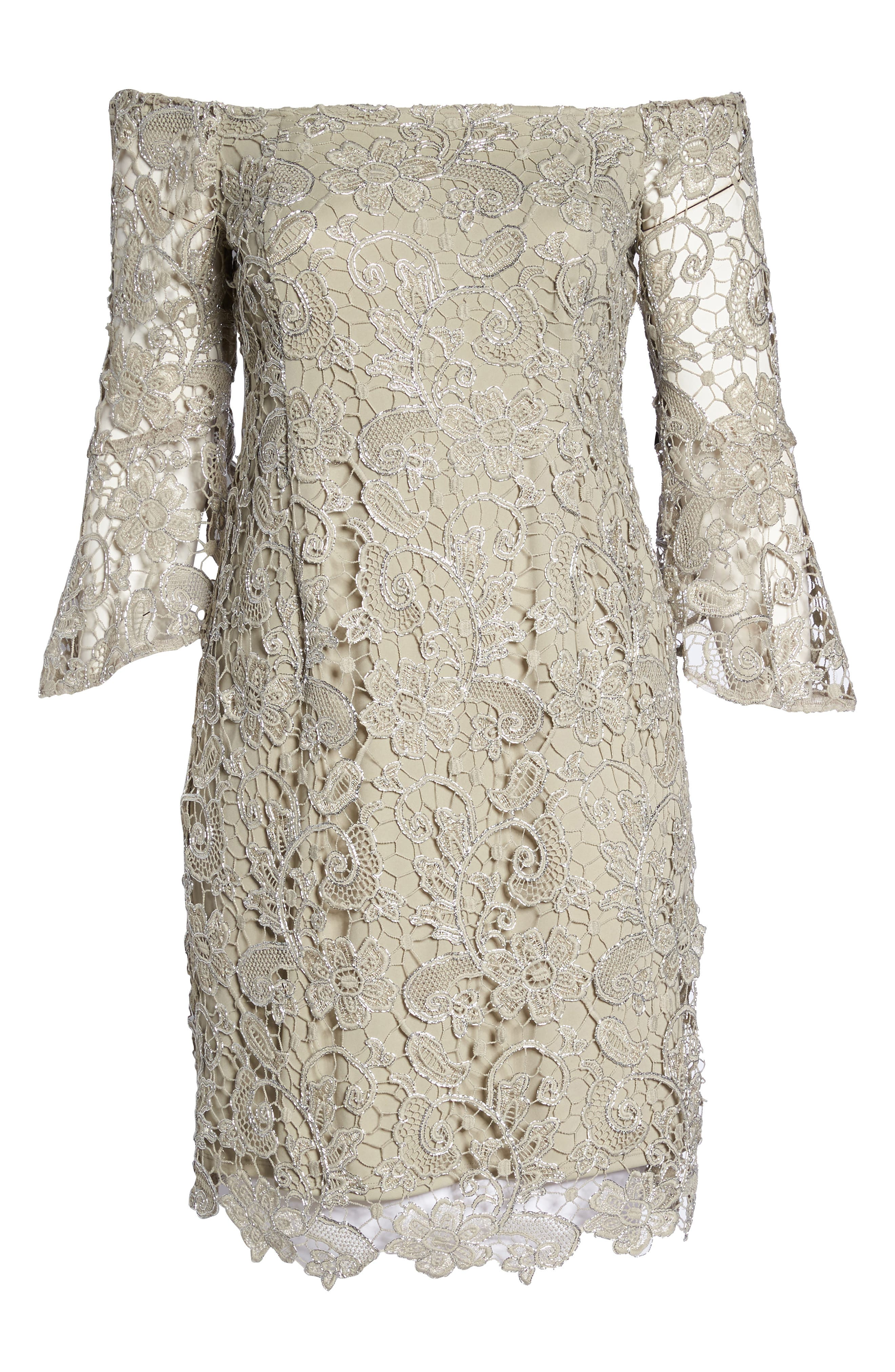 Lace Off the Shoulder Bell Sleeve Dress,                             Alternate thumbnail 6, color,                             250