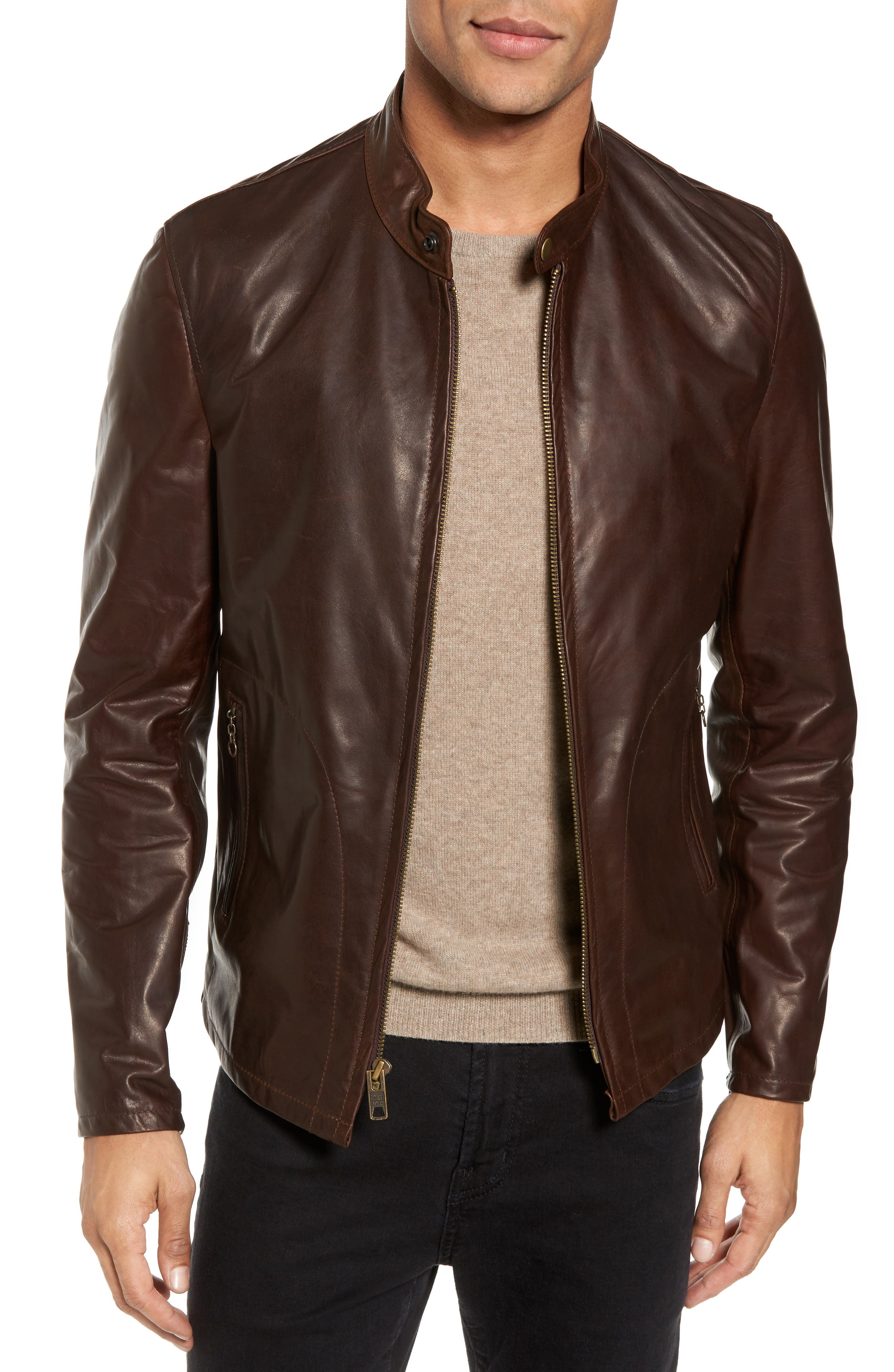 SCHOTT NYC,                             Café Racer Unlined Cowhide Leather Jacket,                             Main thumbnail 1, color,                             BROWN