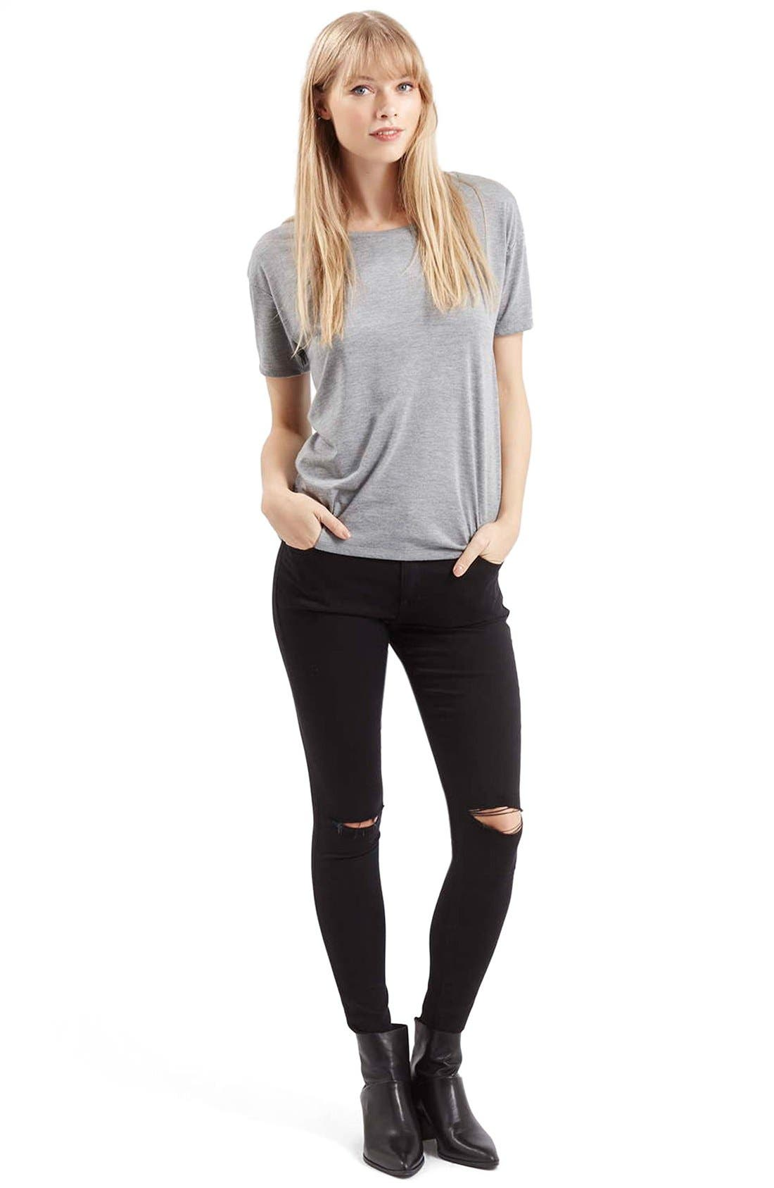 Moto 'Leigh' Ripped Skinny Jeans,                             Alternate thumbnail 2, color,                             001