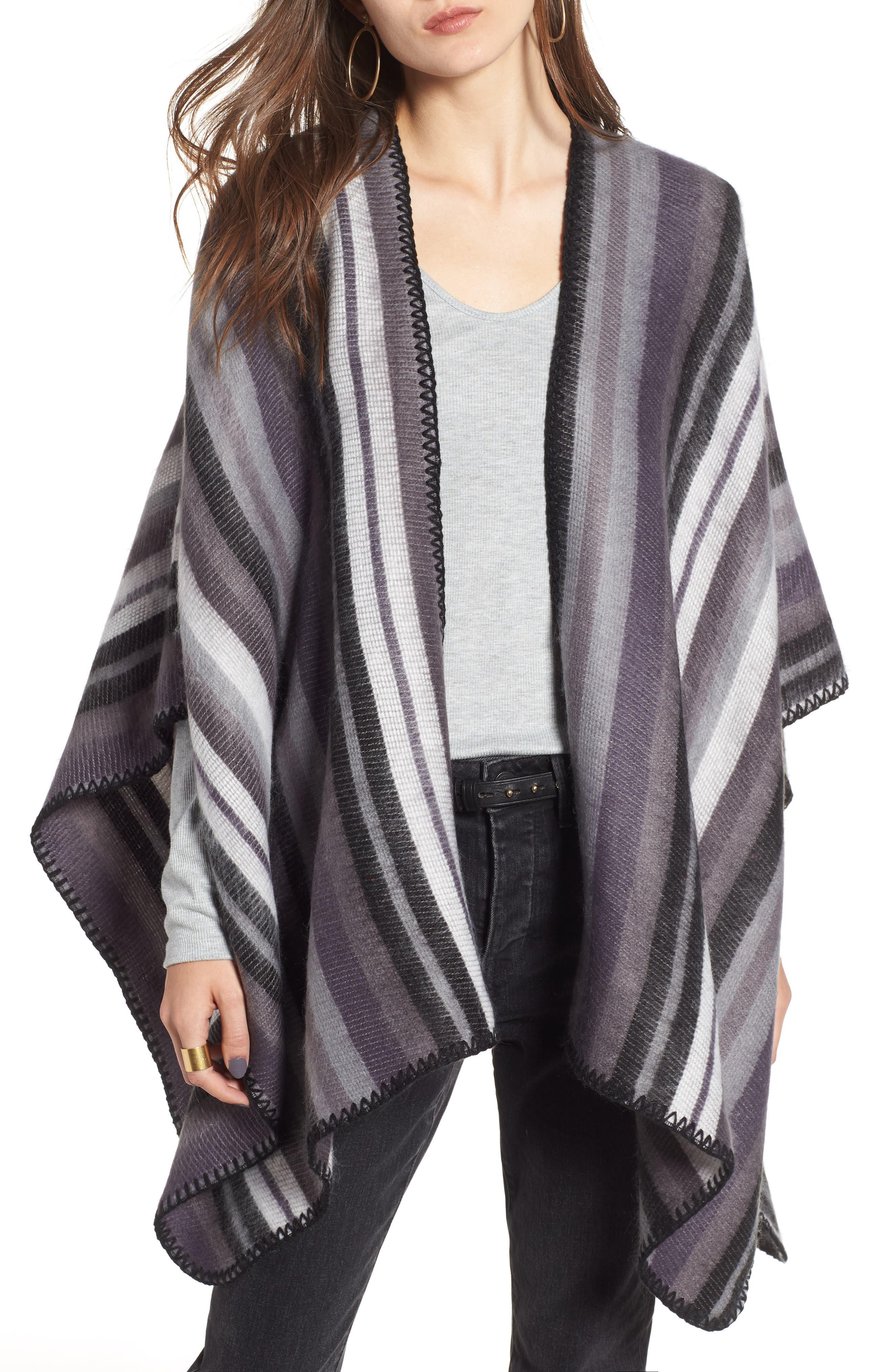 Stripe Blanket Wrap,                             Main thumbnail 1, color,                             BLACK COMBO