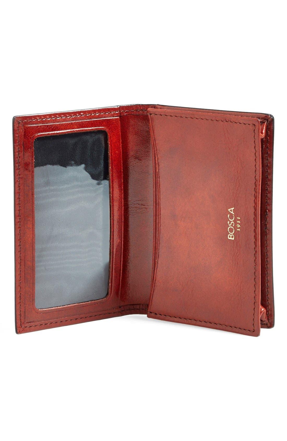 'Old Leather' Gusset Wallet,                             Alternate thumbnail 3, color,                             COGNAC