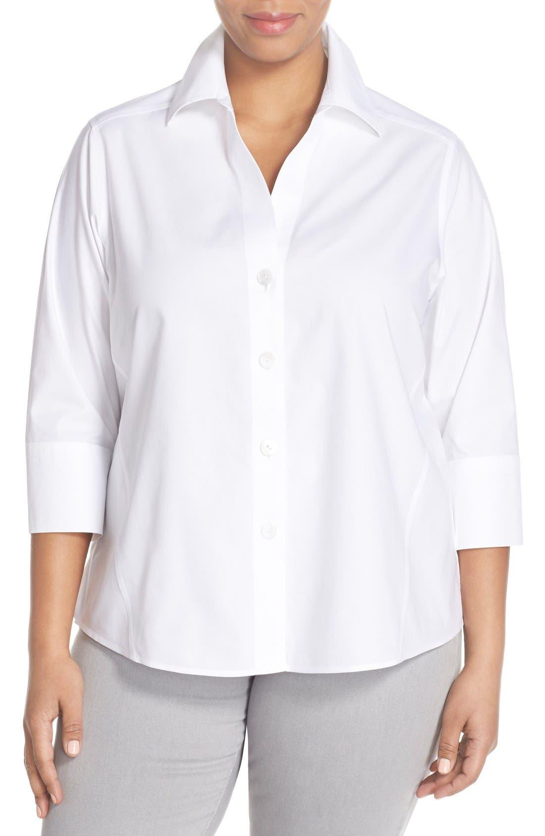 Paige Non-Iron Cotton Shirt,                         Main,                         color, WHITE