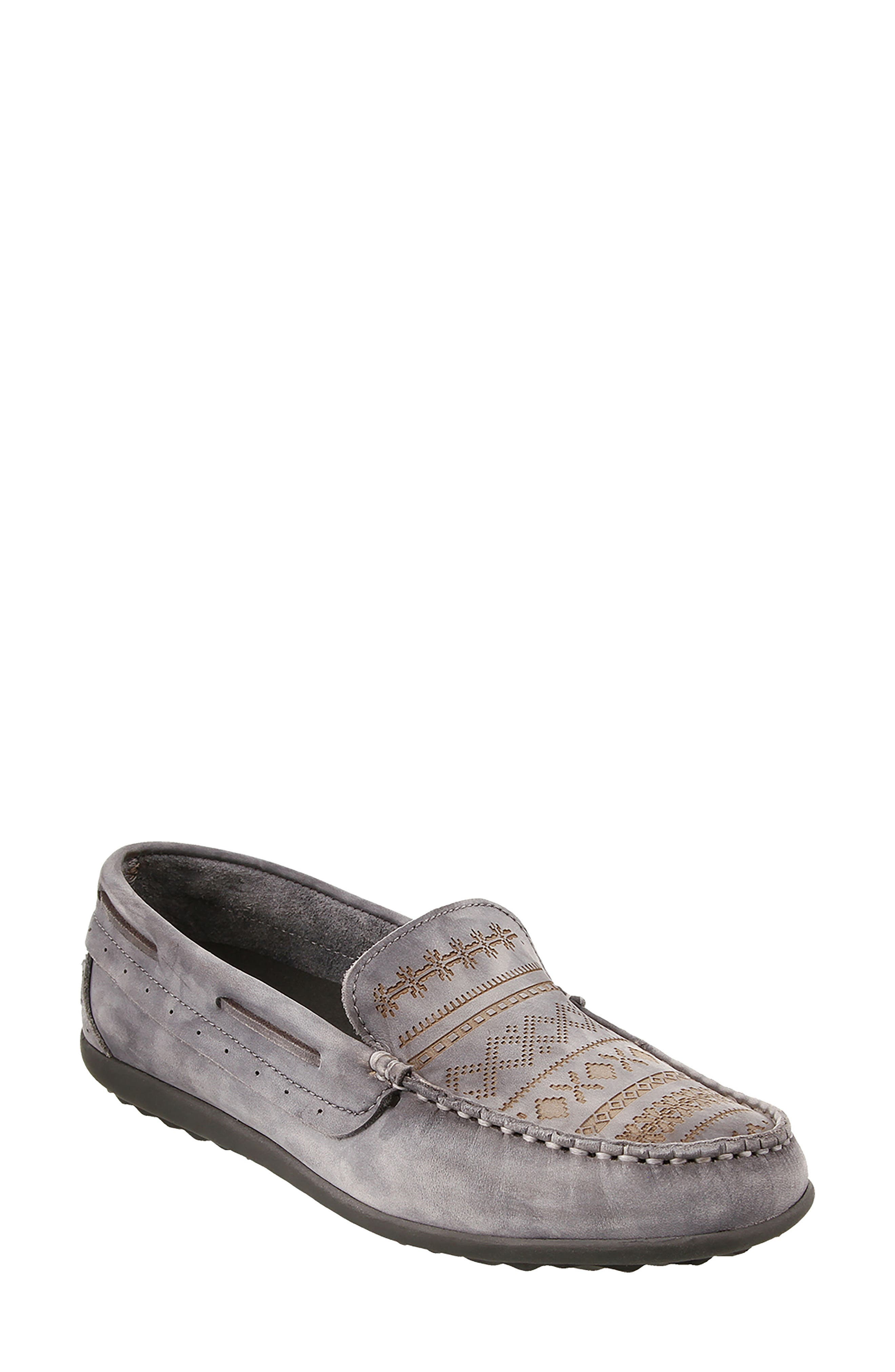 Heritage Moccasin Flat,                             Main thumbnail 1, color,                             STEEL GREY LEATHER