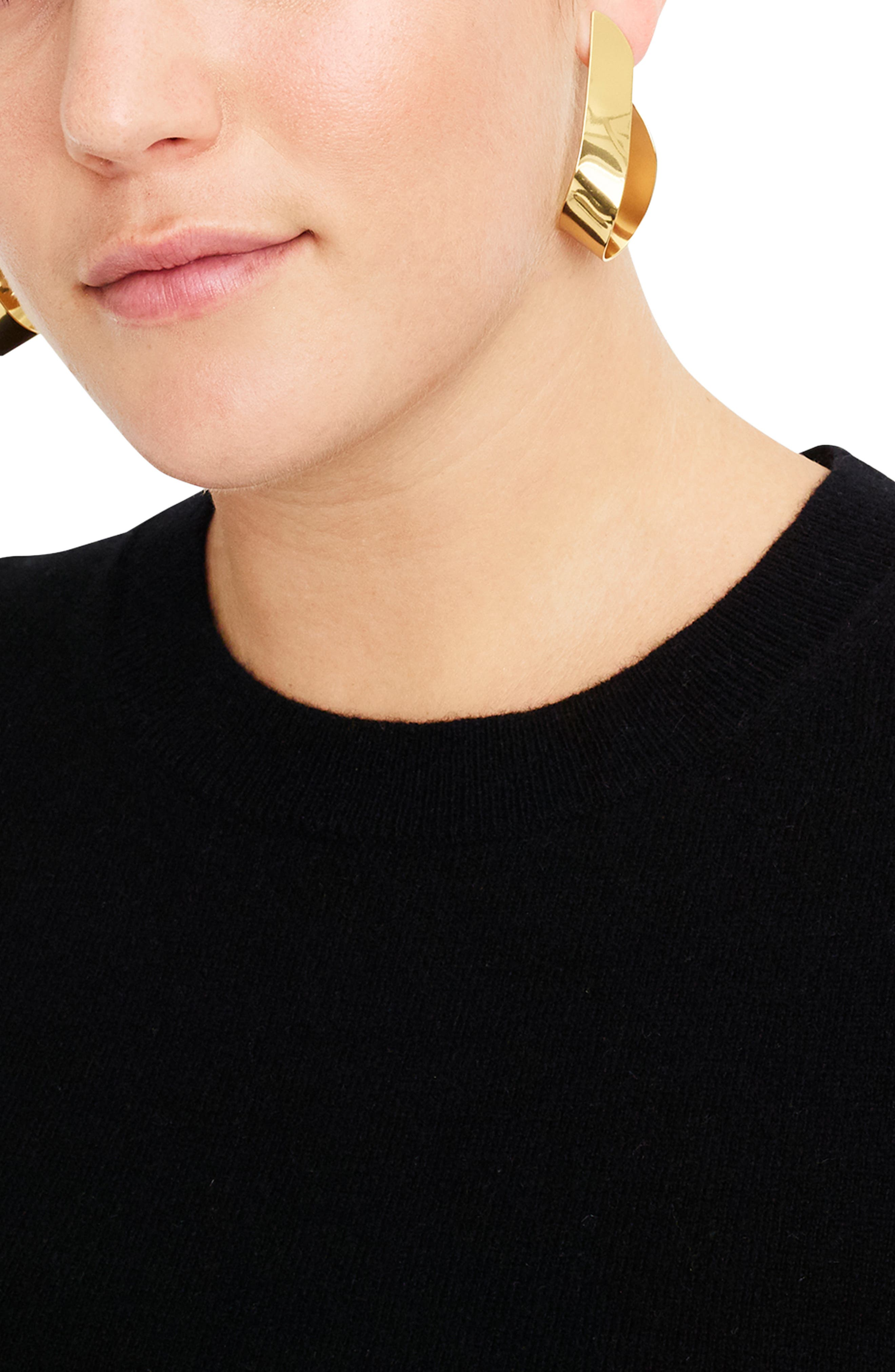 J.CREW,                             Crewneck Cashmere Sweater,                             Alternate thumbnail 6, color,                             BLACK