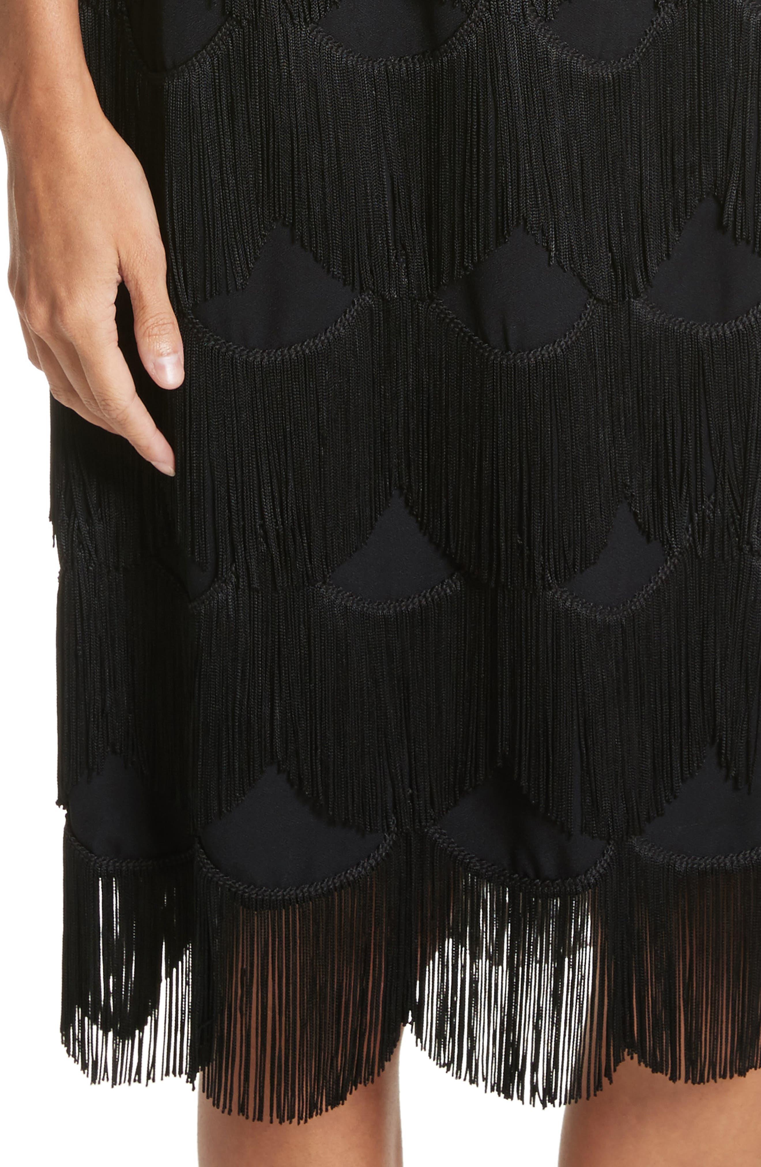 Scalloped Fringe Party Dress,                             Alternate thumbnail 4, color,                             001