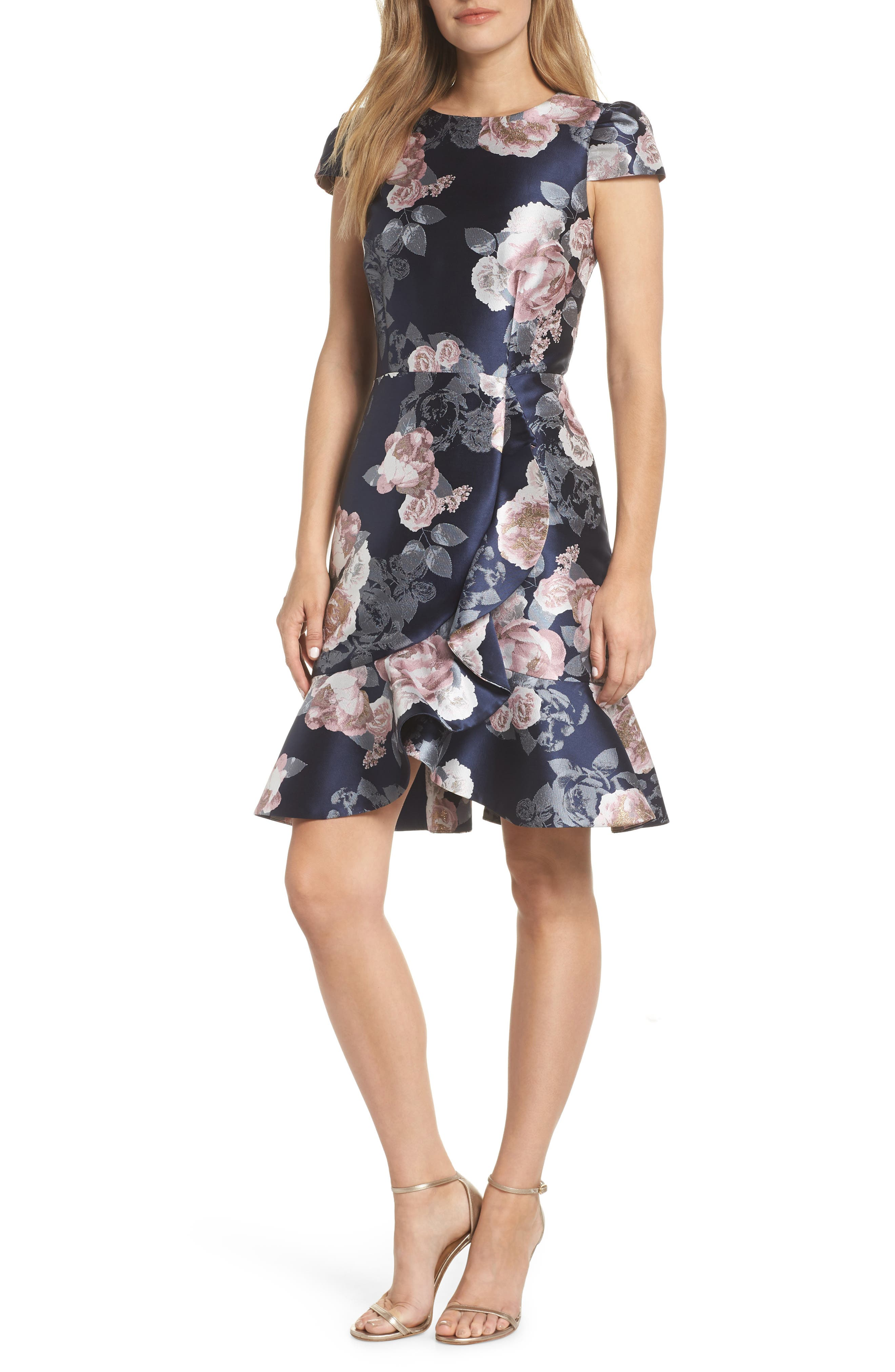 Eliza J Floral Jacquard Dress, Blue