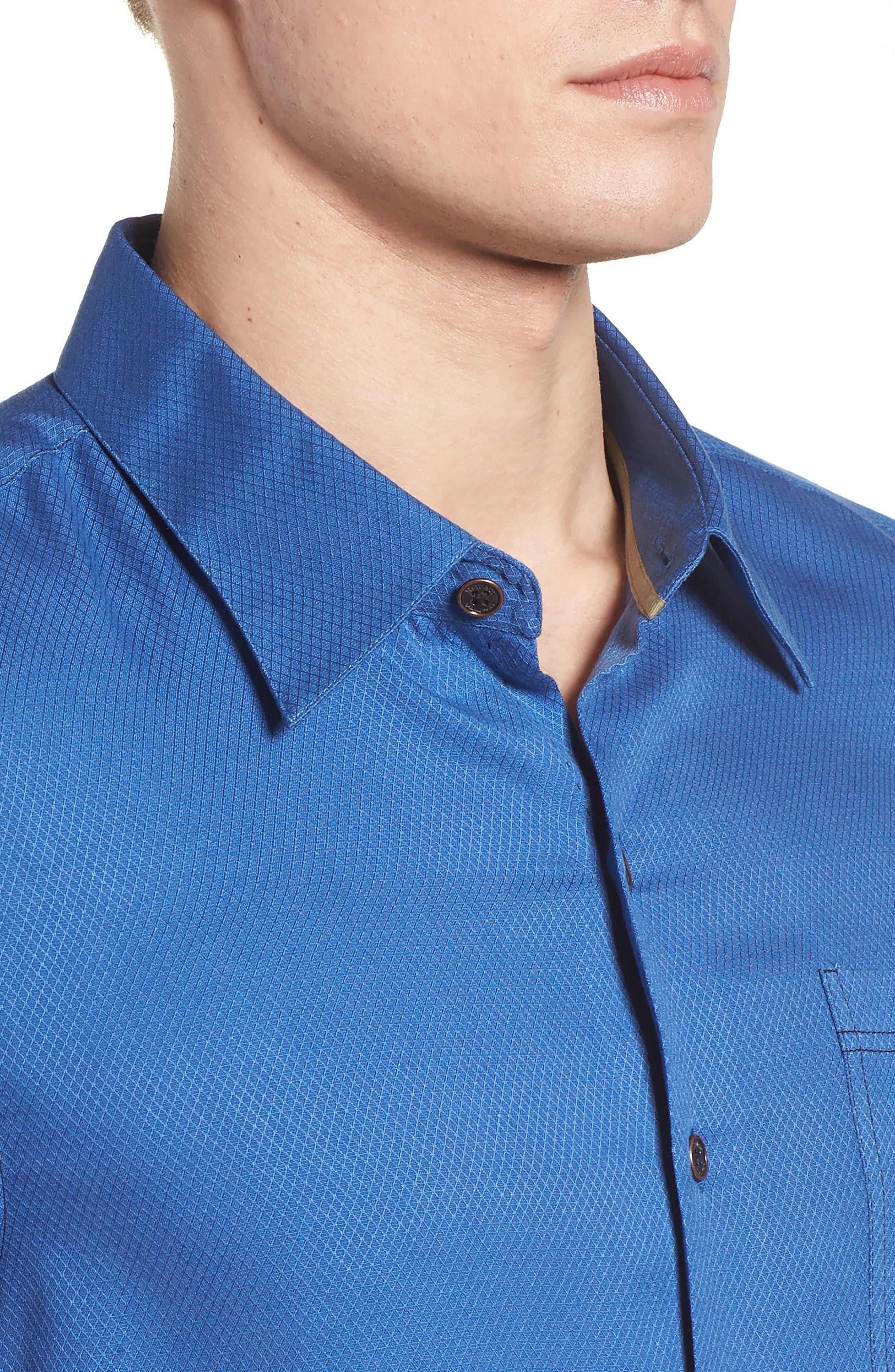 'Honeycomb' Regular Fit Short Sleeve Textured Sport Shirt,                             Alternate thumbnail 7, color,