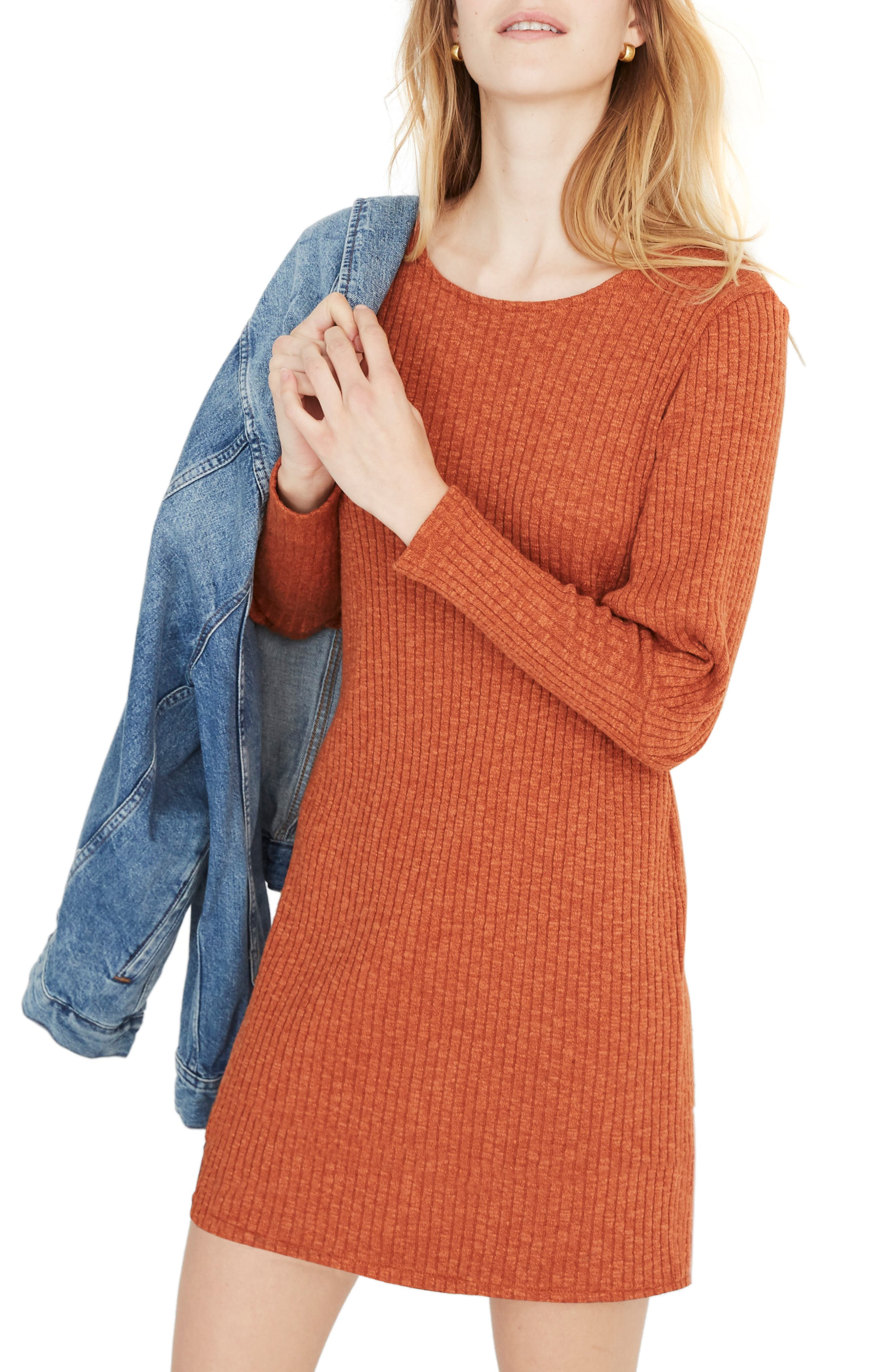 Madewell Ribbed Bubble Sleeve Dress, Orange
