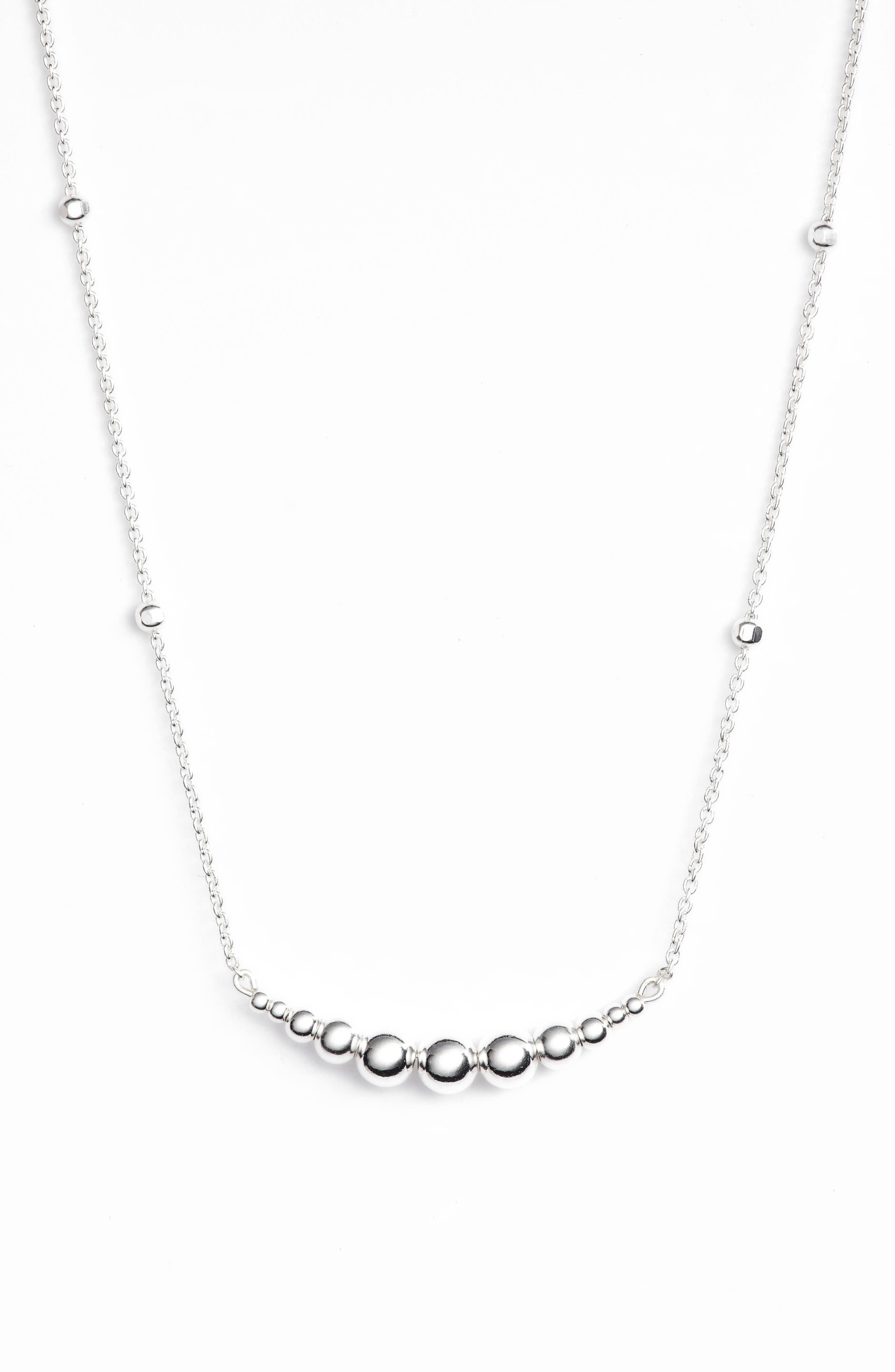 Graduated Sphere Pendant Necklace,                             Main thumbnail 1, color,                             SILVER