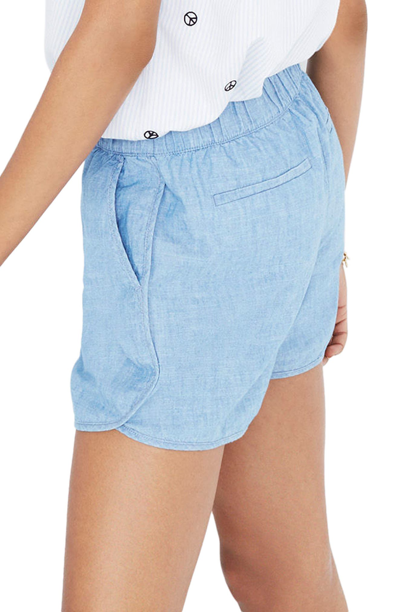 Chambray Pull-On Shorts,                             Alternate thumbnail 2, color,