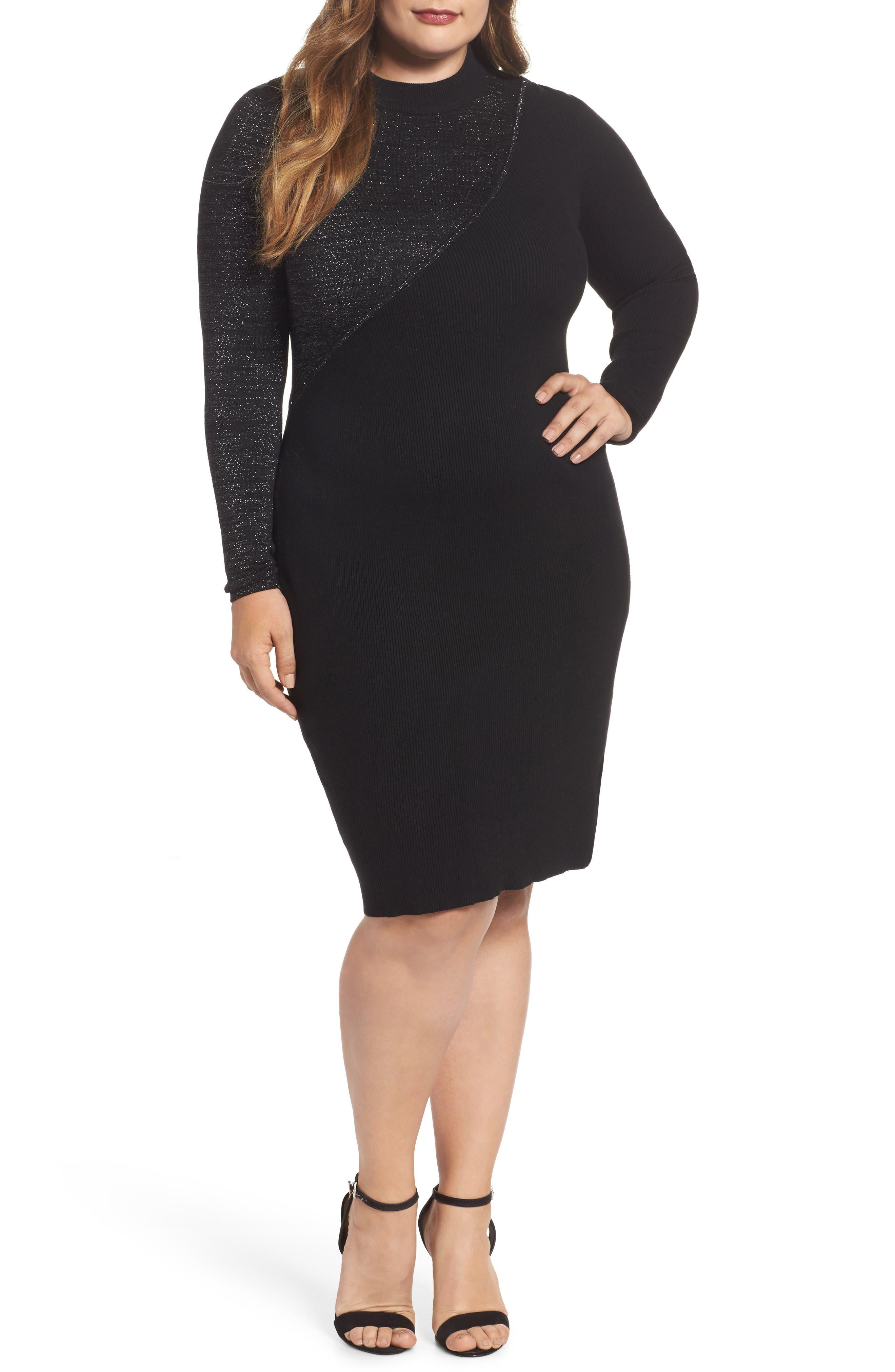 Glitter Colorblock Knit Body-Con Dress,                         Main,                         color, 001