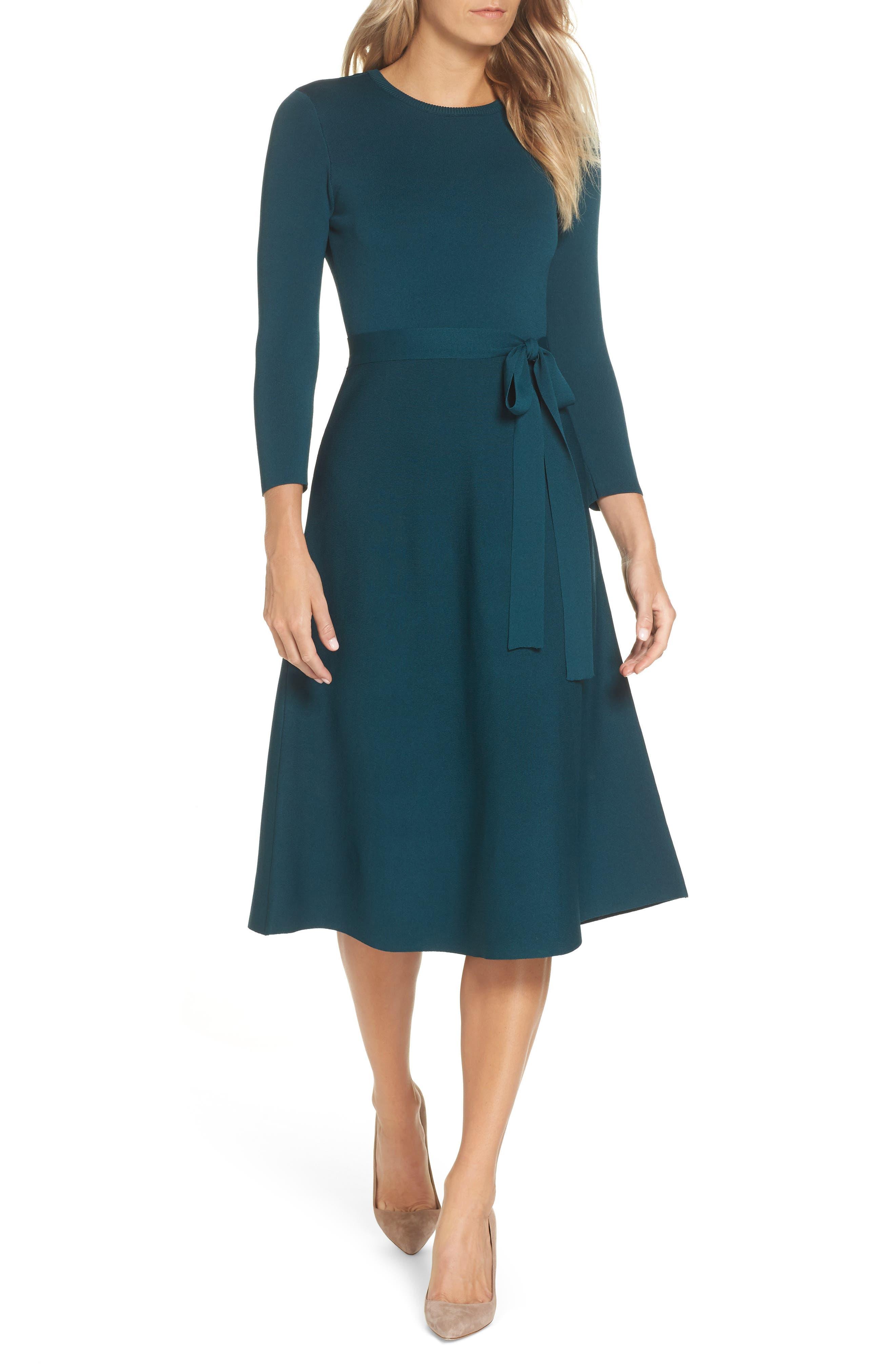 Eliza J Fit & Flare Sweater Dress, Green