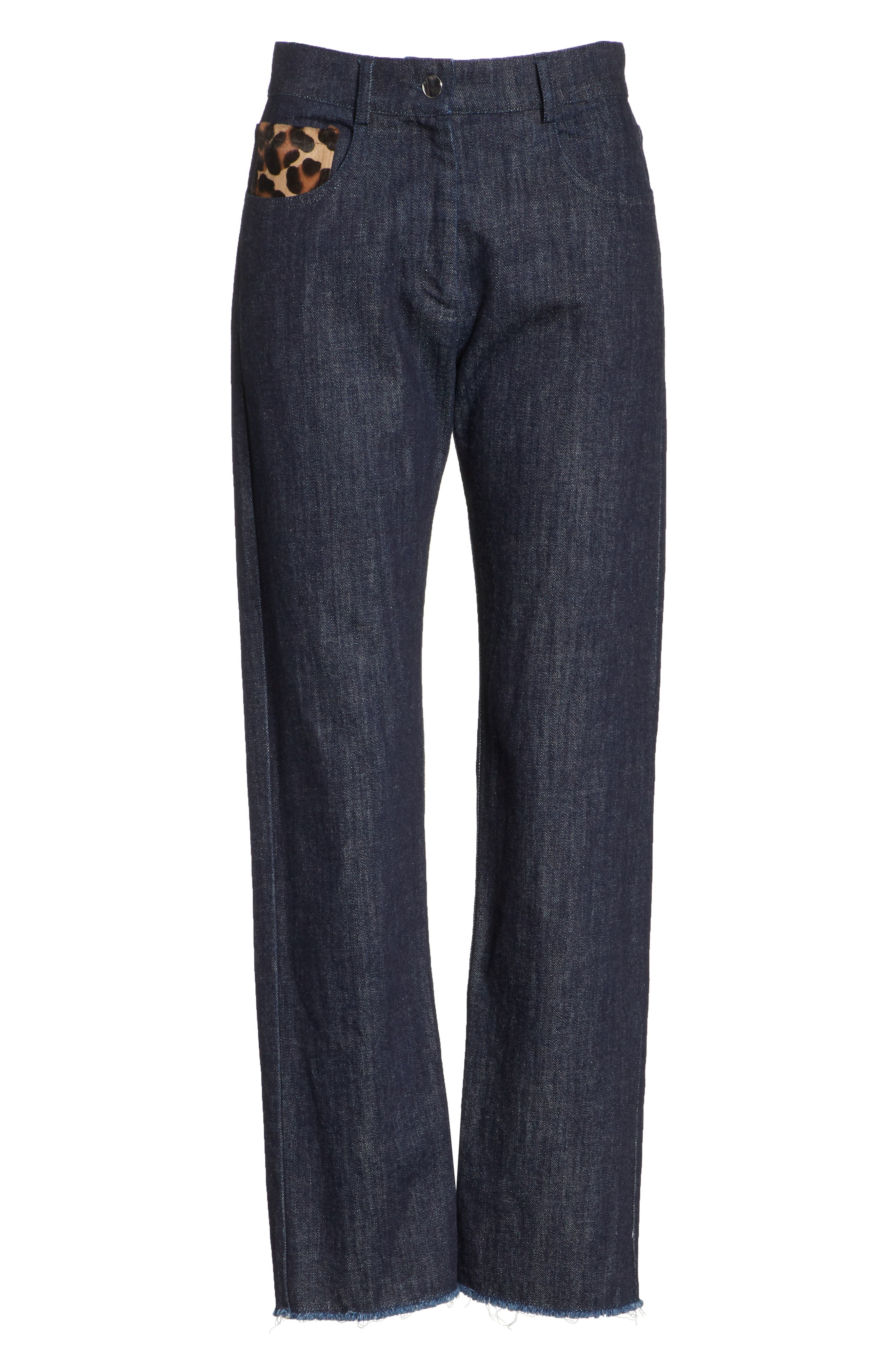 Genuine Calf Hair Pocket Straight Leg Jeans,                             Alternate thumbnail 6, color,                             INDIGO