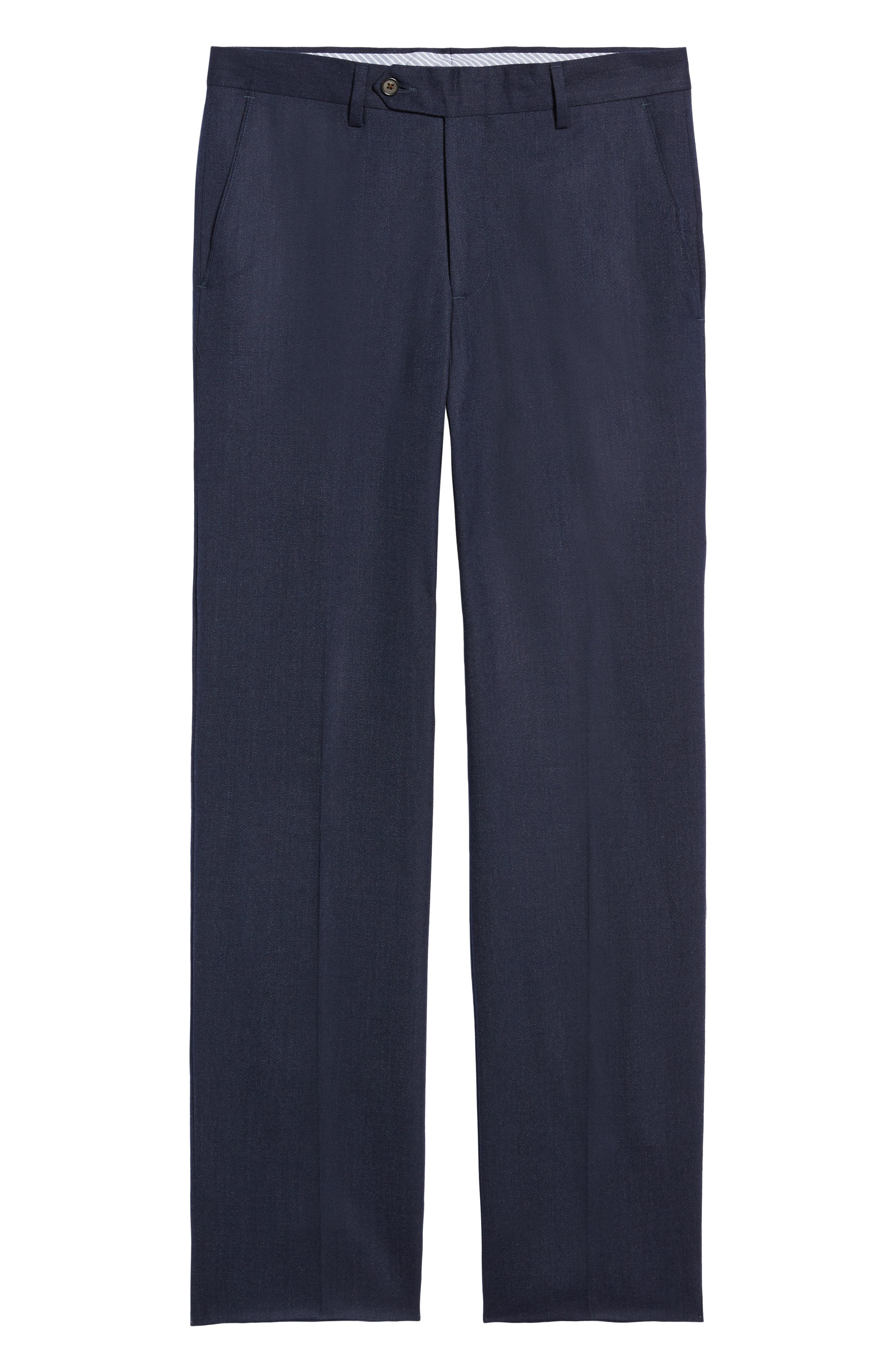Flat Front Stretch Solid Wool & Cotton Trousers,                             Alternate thumbnail 6, color,                             BLUE