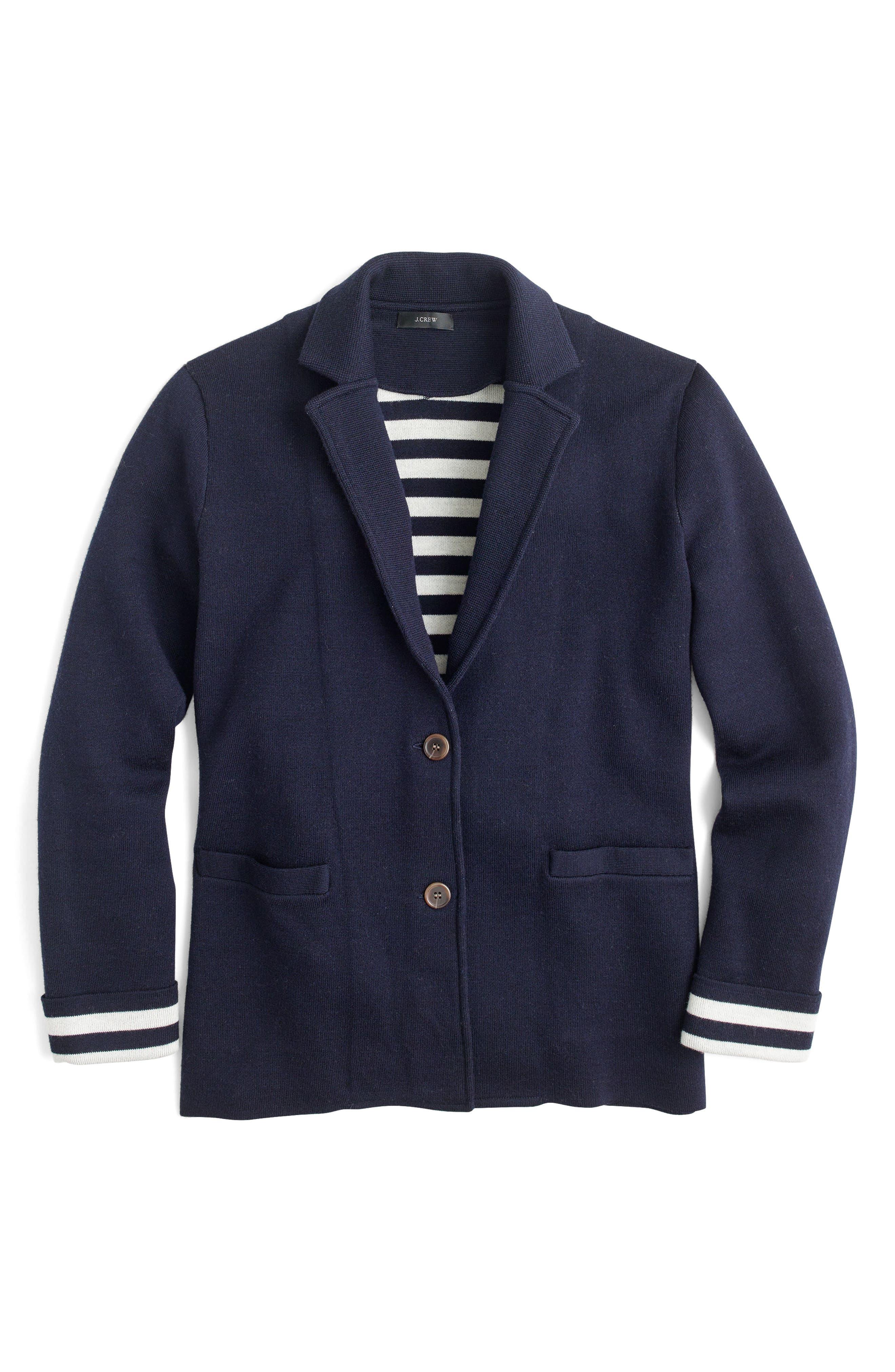 Stripe Lining Merino Wool Sweater Blazer,                             Alternate thumbnail 4, color,                             400