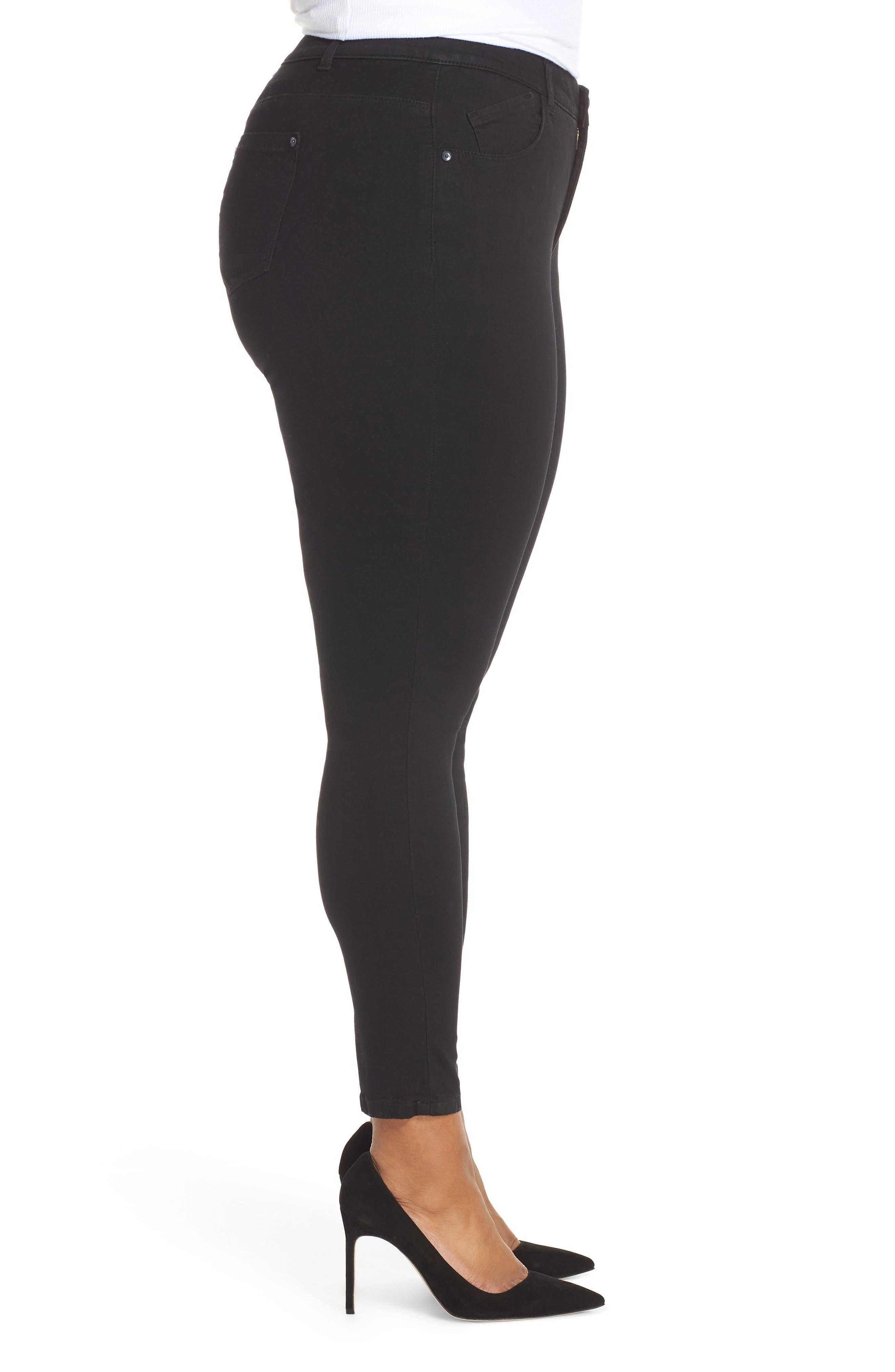 WIT & WISDOM, 30/11 Ab-solution High Waist Skinny Jeans, Alternate thumbnail 3, color, BLACK