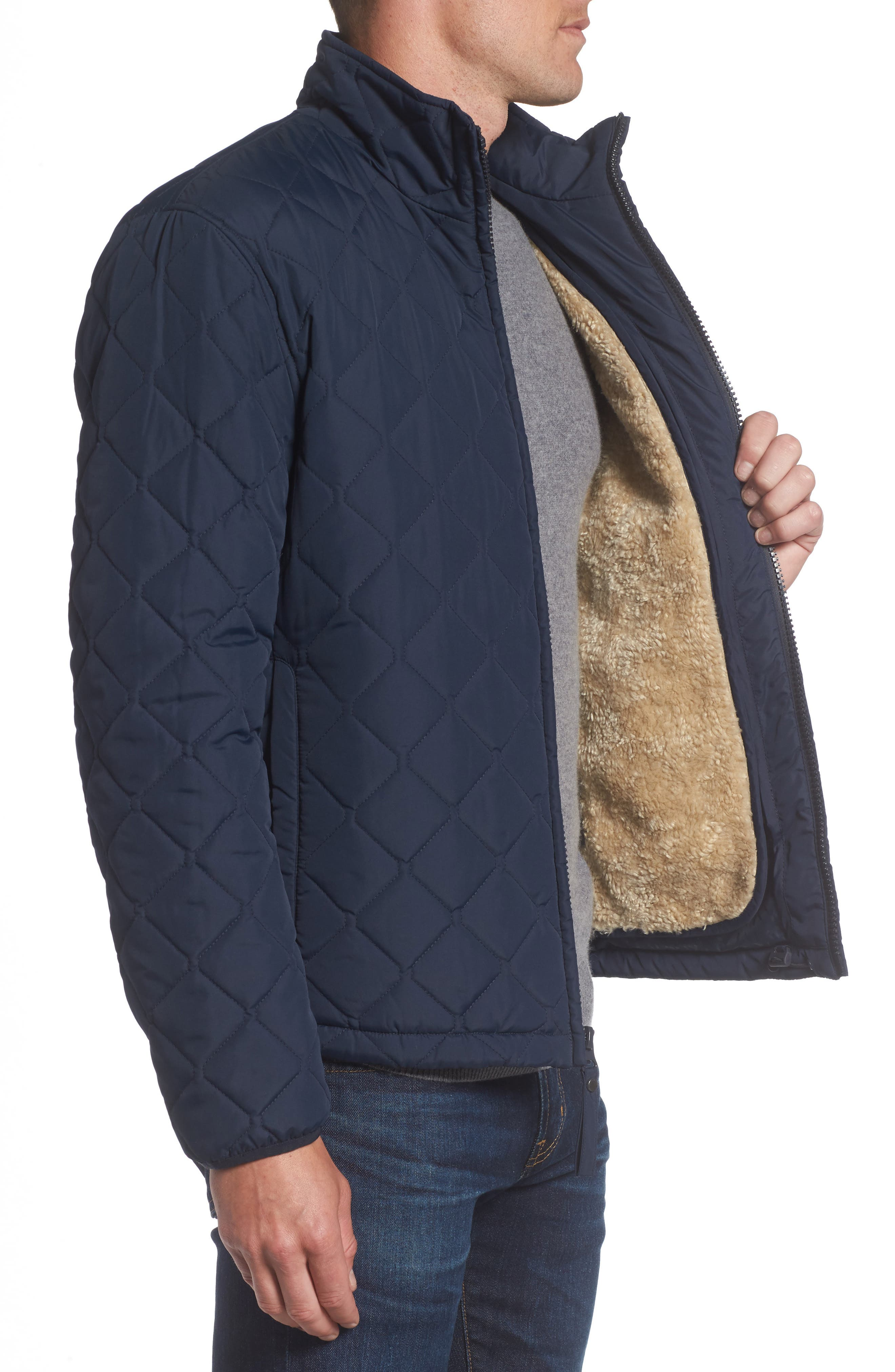 Faux Shearling Lined Quilted Jacket,                             Alternate thumbnail 6, color,