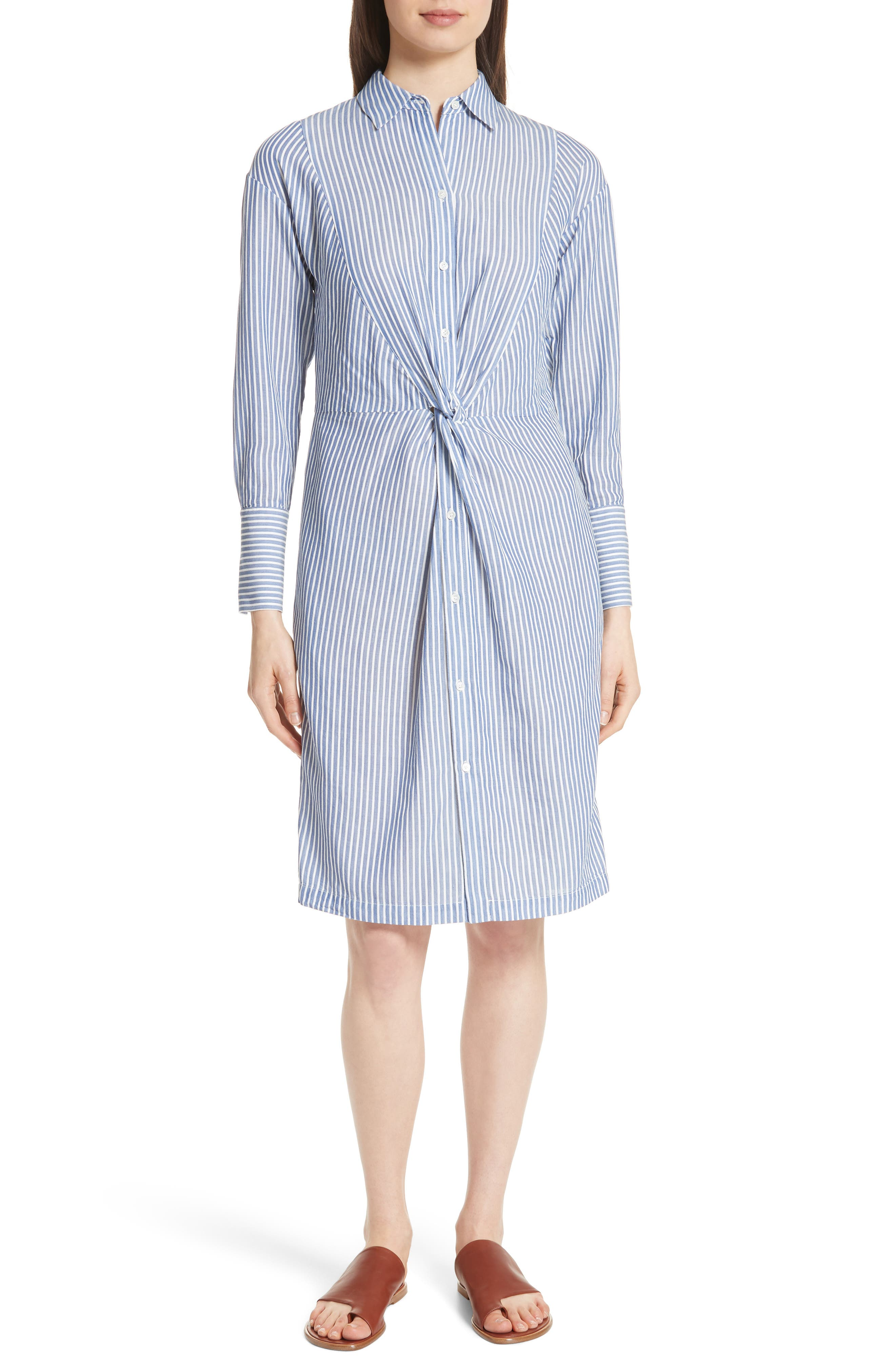 Classic Stripe Twist Cotton Blend Shirtdress,                             Main thumbnail 1, color,                             460
