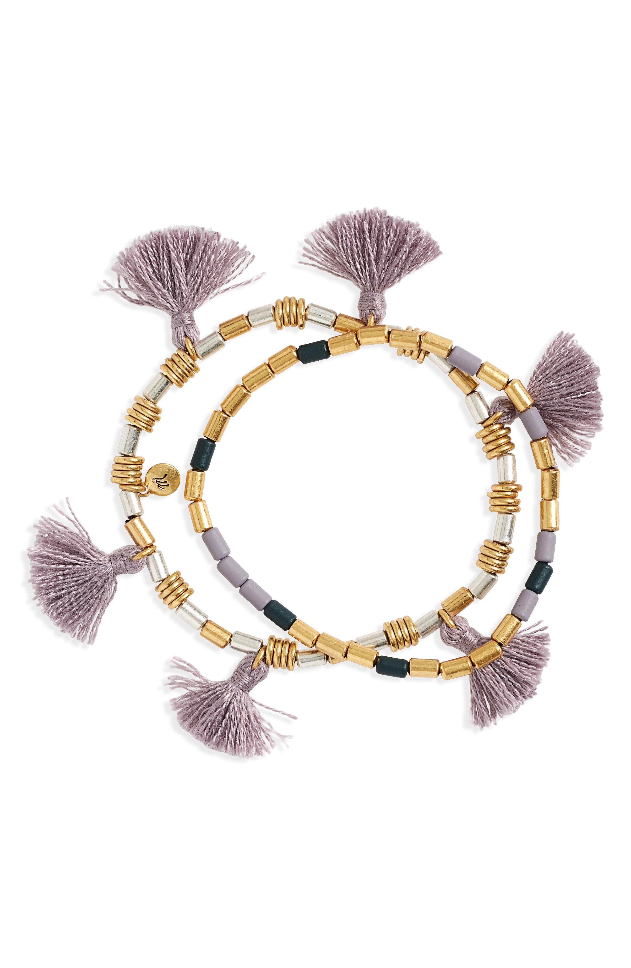 Set of 2 Beaded Tassel Bracelets,                             Main thumbnail 1, color,                             VIOLET DUSK
