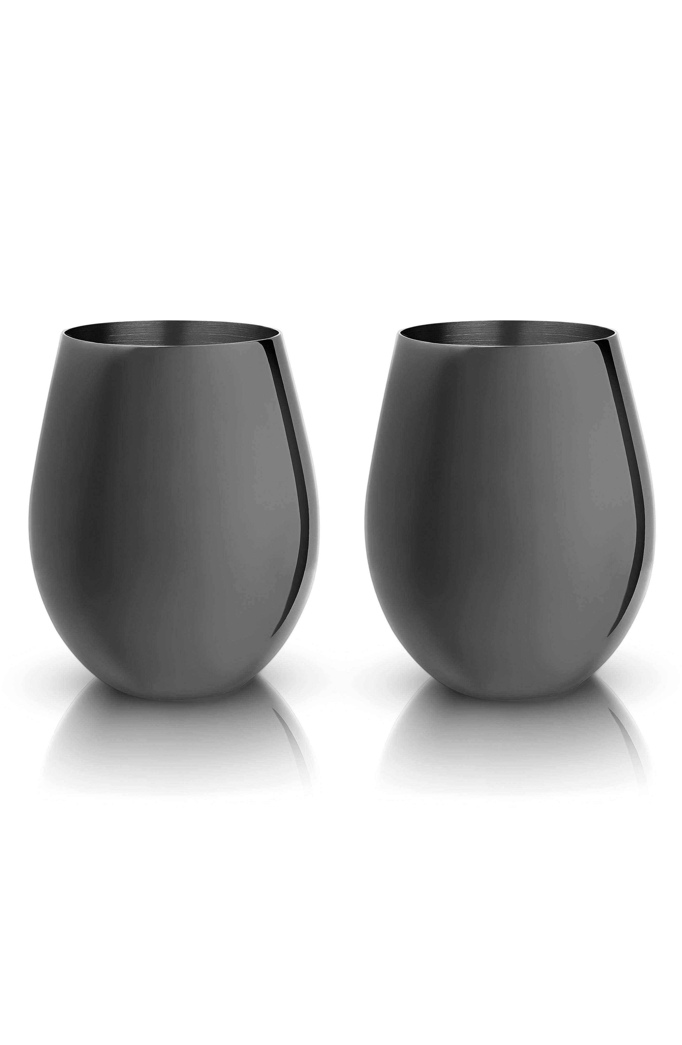Belmont Set of 2 Gold Stemless Wine Glasses,                         Main,                         color, SILVER